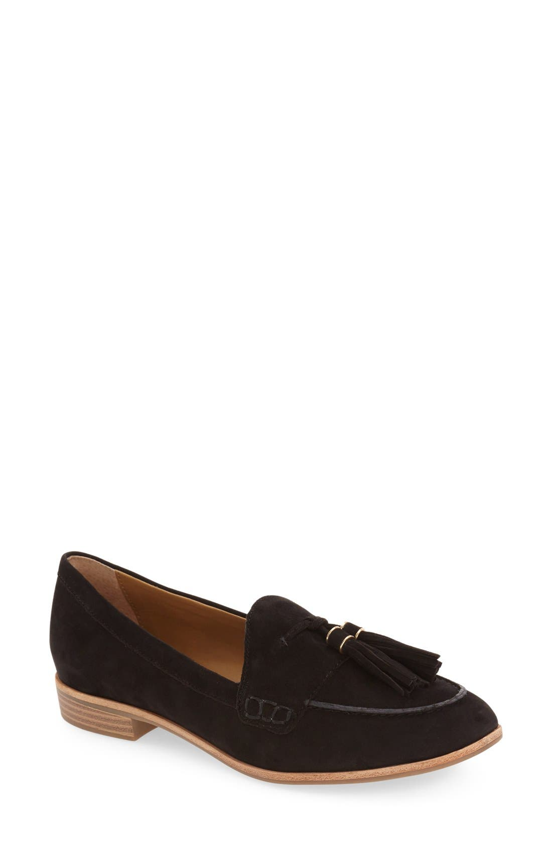 'Estelle' Tassel Loafer,                             Main thumbnail 1, color,                             001