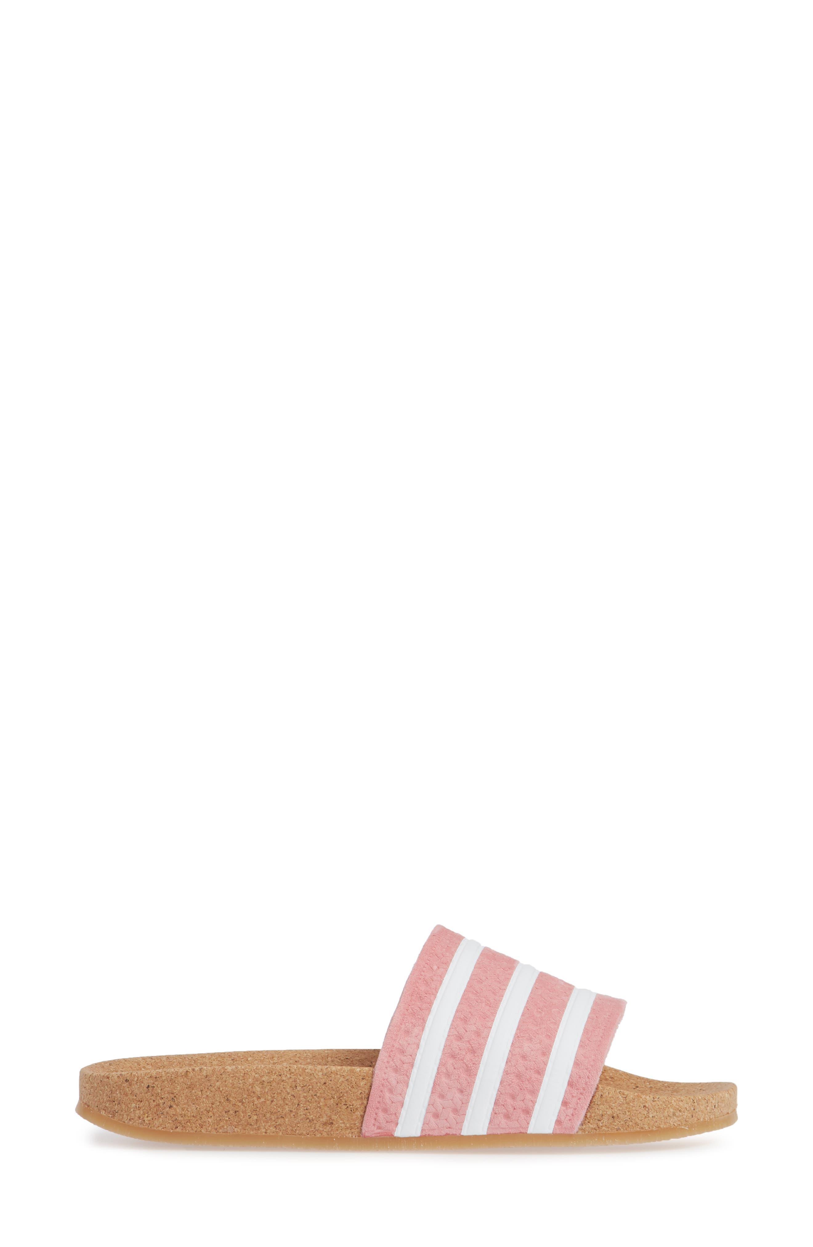 Adilette Slide Sandal,                             Alternate thumbnail 3, color,                             SUPER POP/ WHITE/ GUM4
