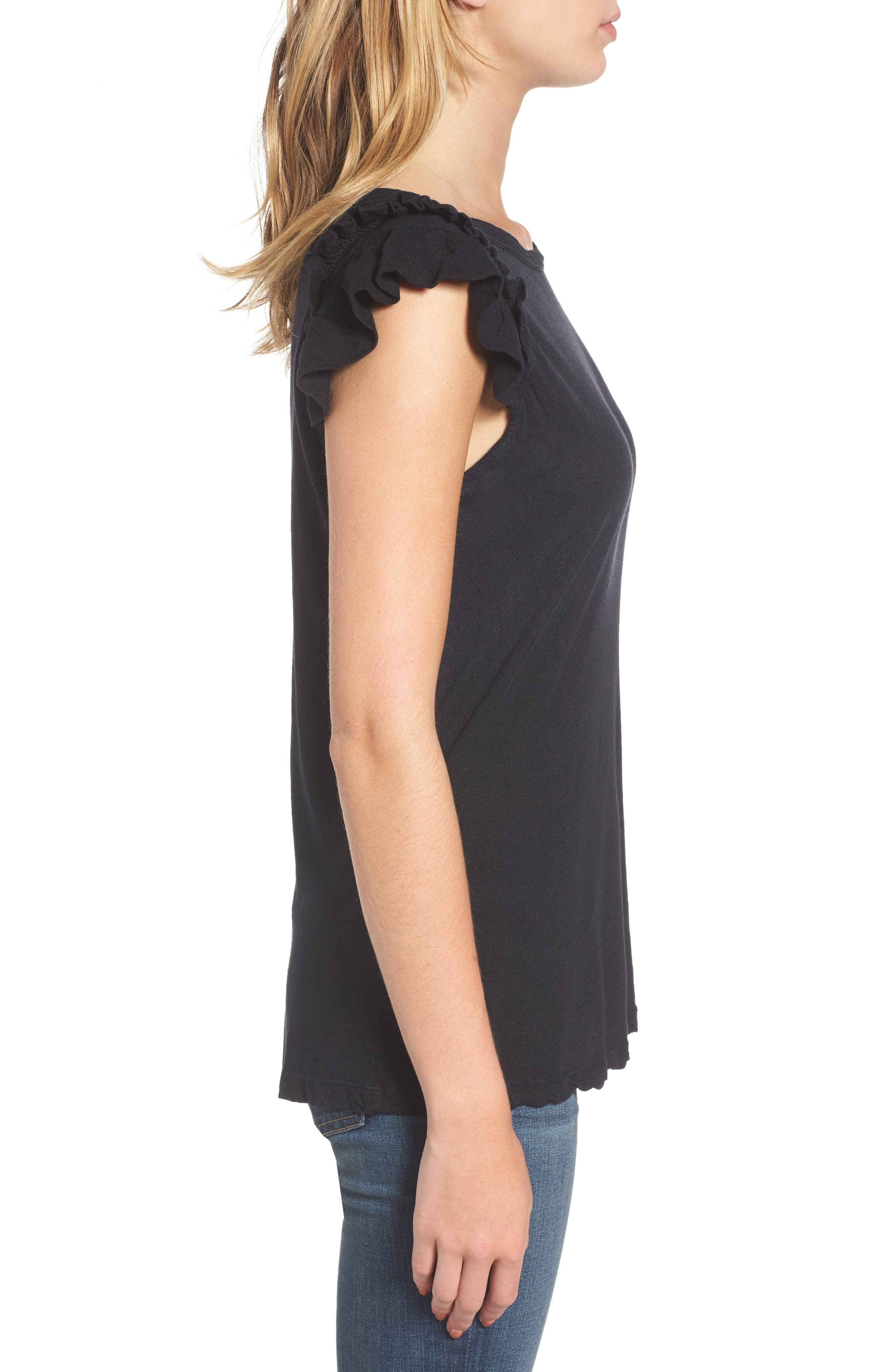 The Double Ruffle Muscle Tee,                             Alternate thumbnail 3, color,                             005