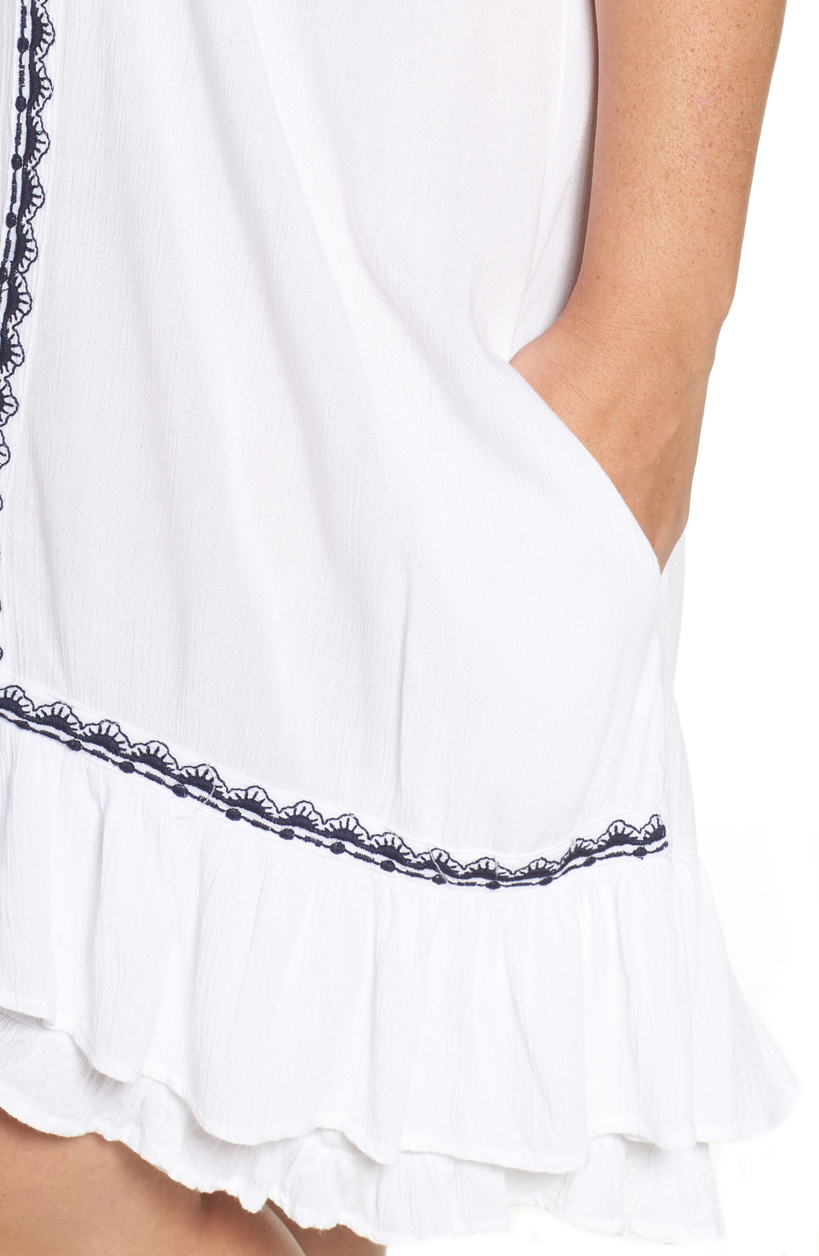 Gavin Ruffle Cover-Up Dress,                             Alternate thumbnail 4, color,                             100