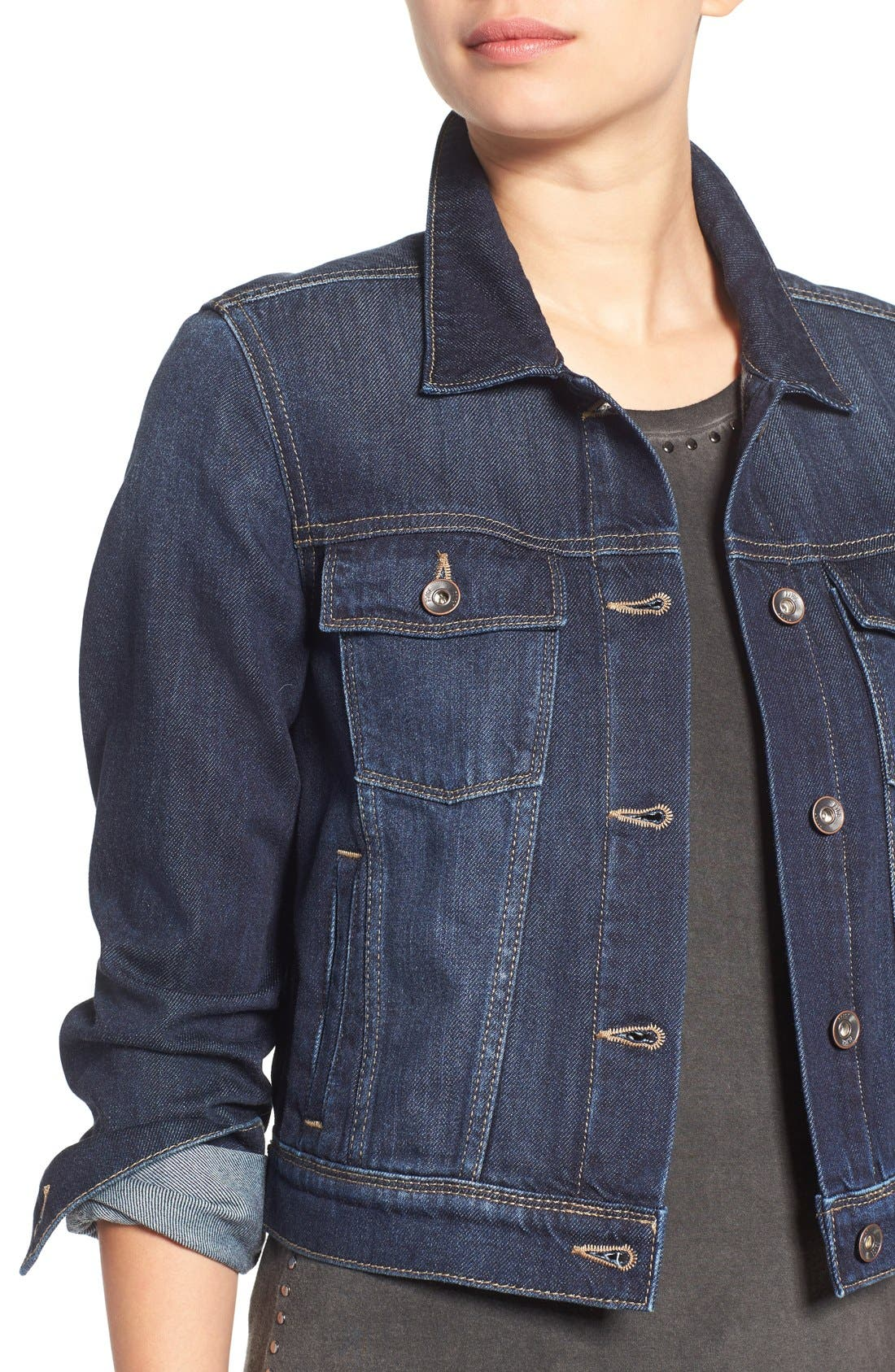 'Vivienne' Denim Jacket,                             Alternate thumbnail 4, color,                             400