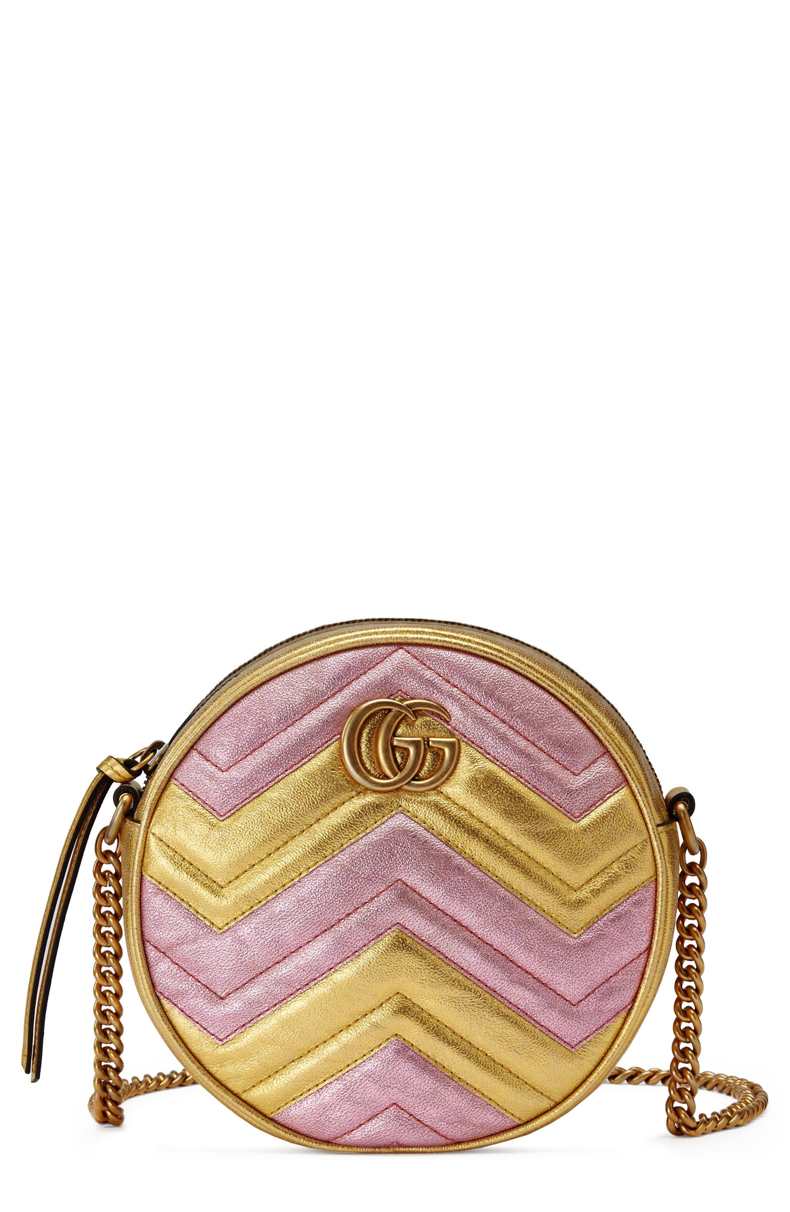 Marmont 2.0 Mini Leather Circle Crossbody Bag,                             Main thumbnail 1, color,                             ORO/ ROSA