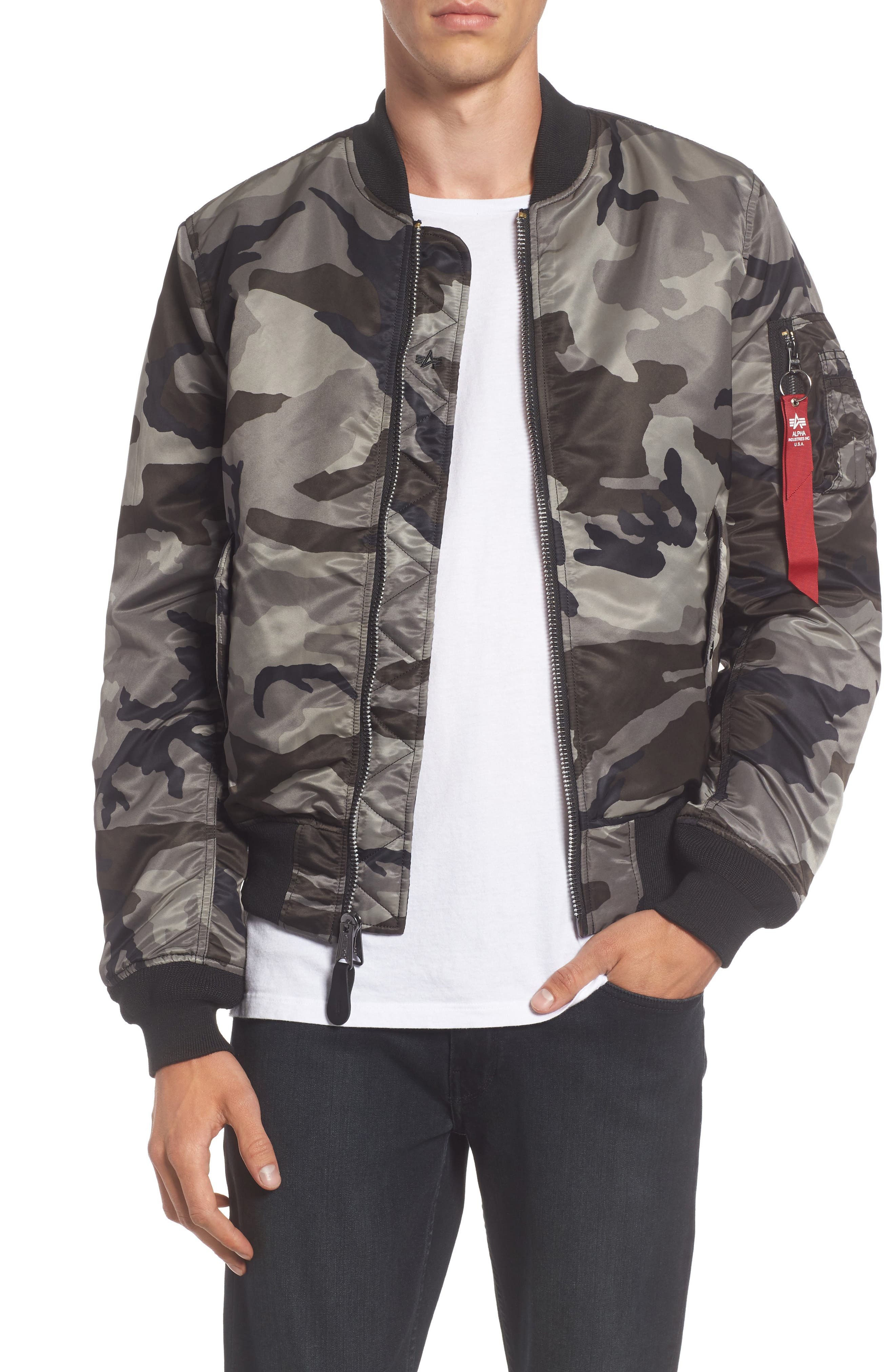 'MA-1' Slim Fit Bomber Jacket,                             Main thumbnail 1, color,                             005