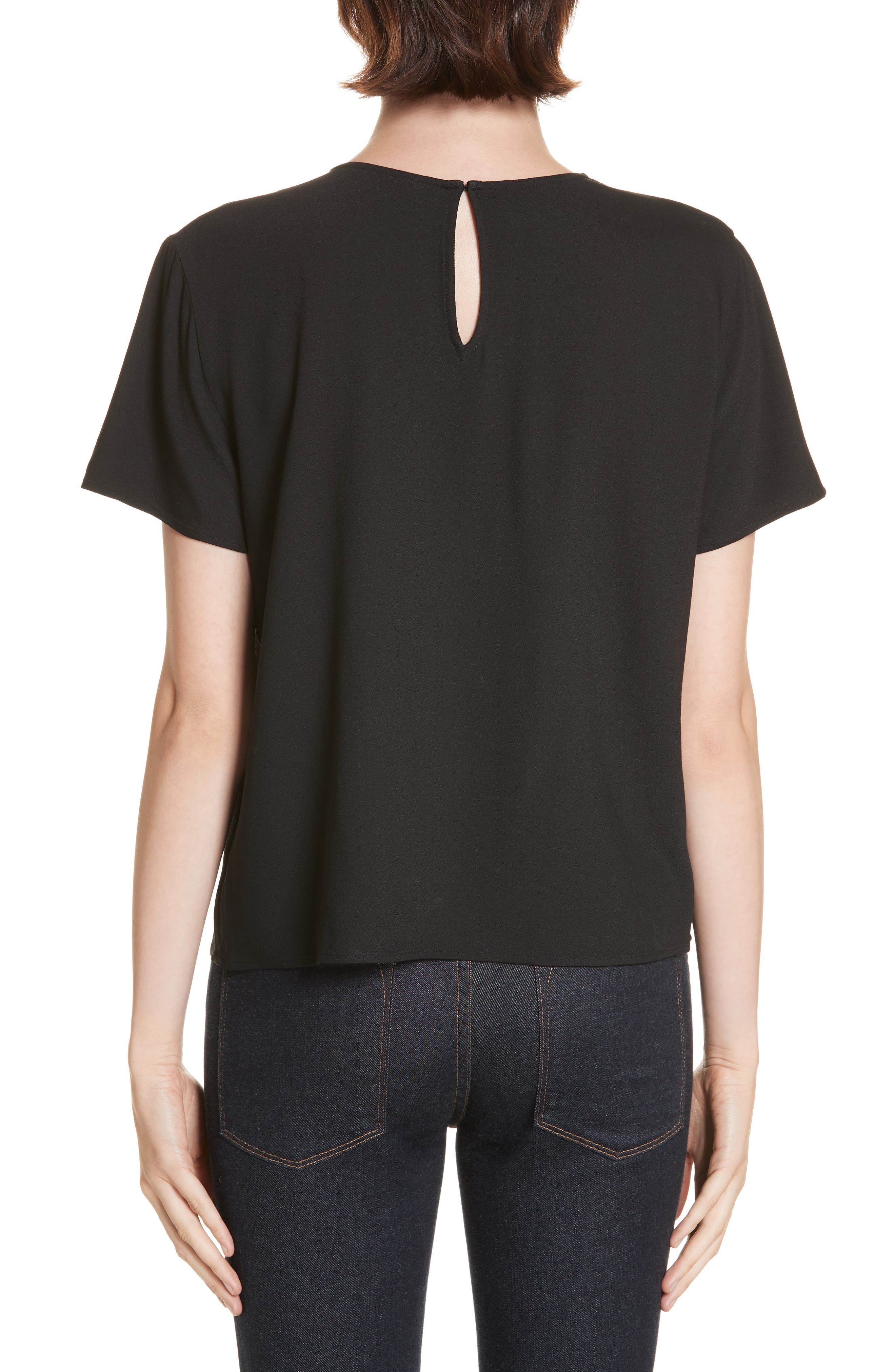 Crepe Tee,                             Alternate thumbnail 2, color,                             BLACK