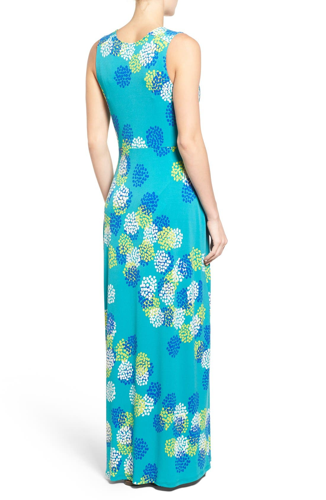 'Isabella' V-Neck Maternity Maxi Dress,                             Alternate thumbnail 3, color,                             DAHLIA