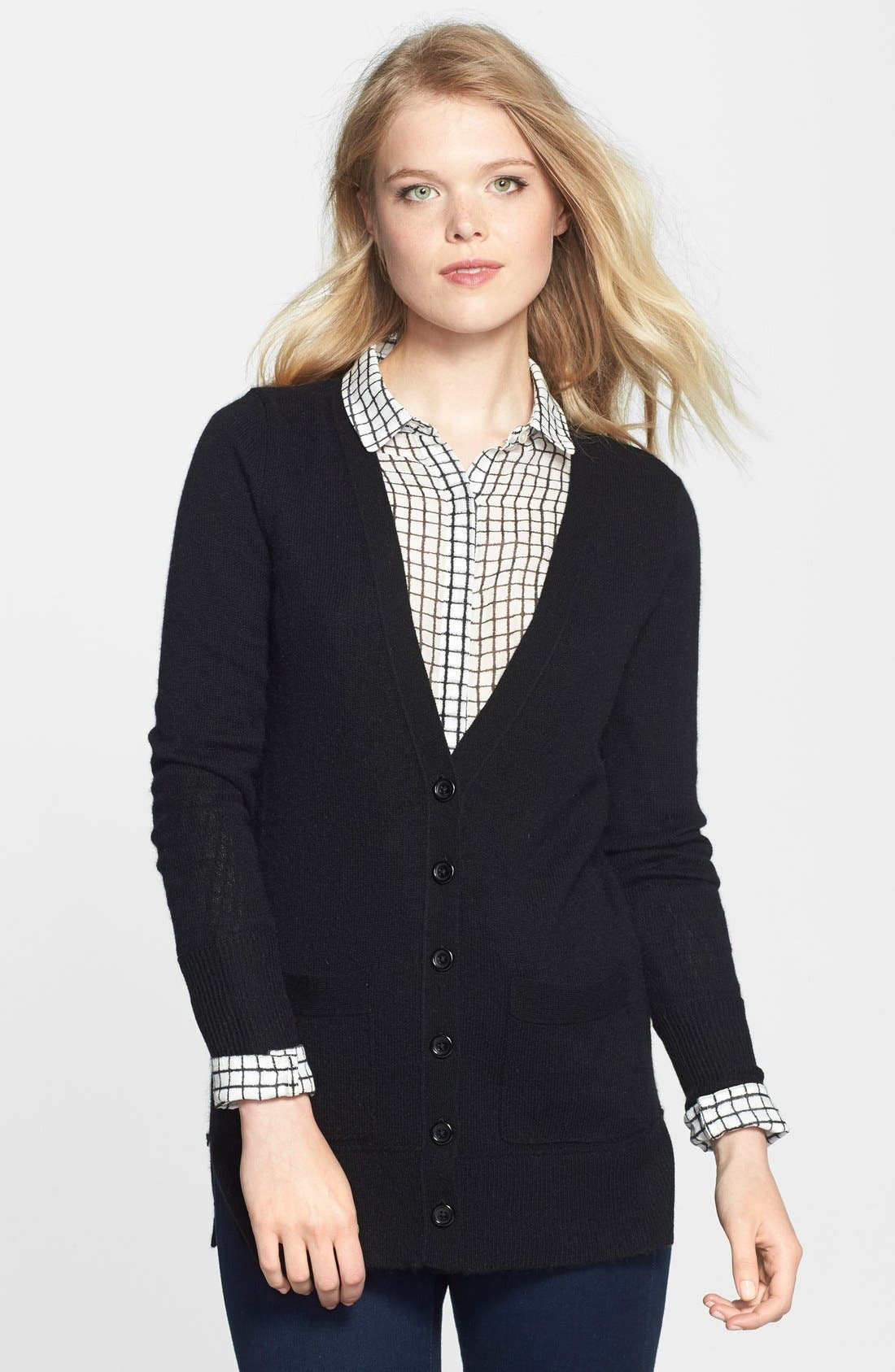 Wool & Cashmere Boyfriend Cardigan,                             Main thumbnail 1, color,                             001