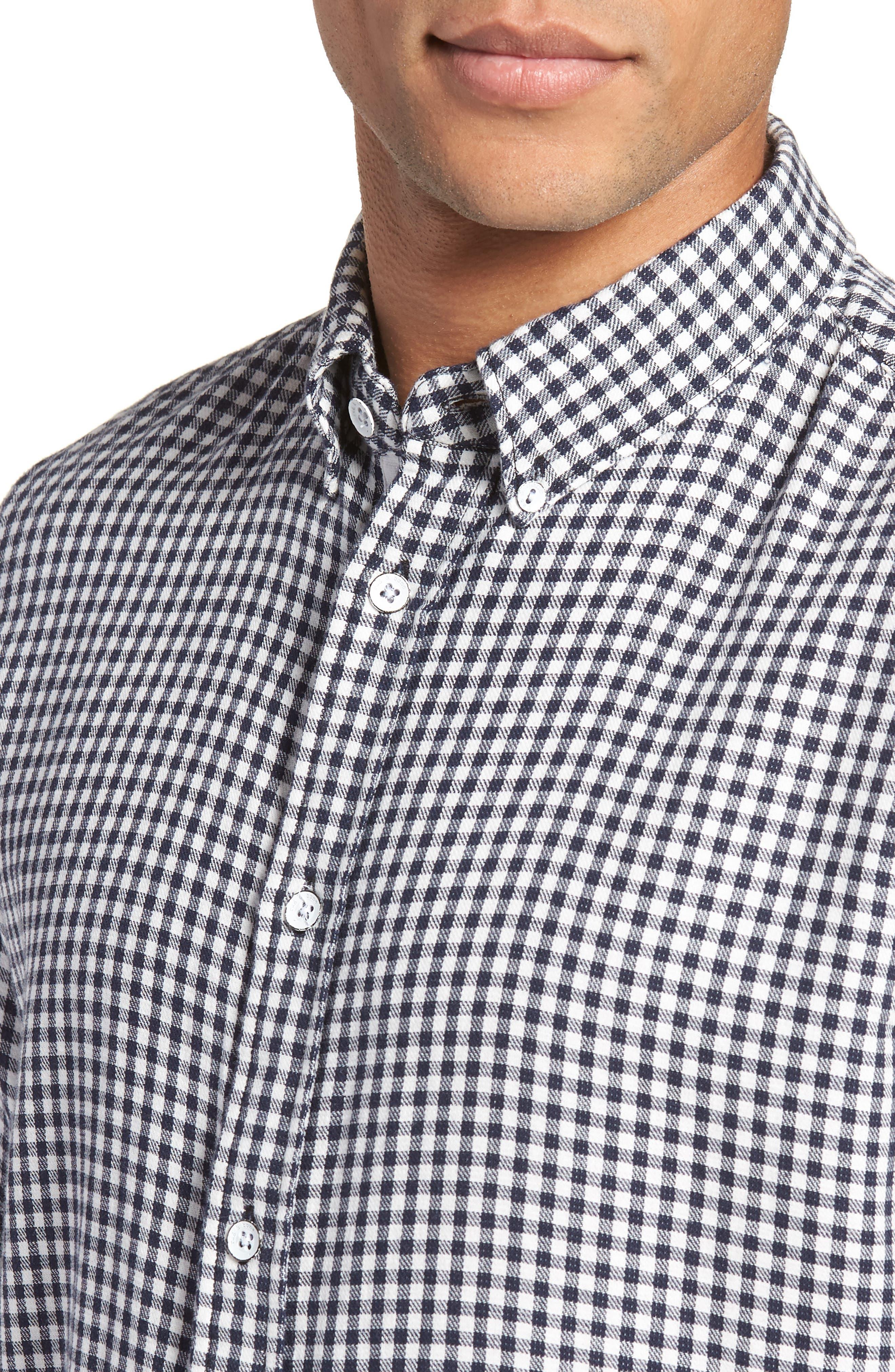 Fit 2 Tomlin Check Sport Shirt,                             Alternate thumbnail 4, color,                             NAVY GINGHAM