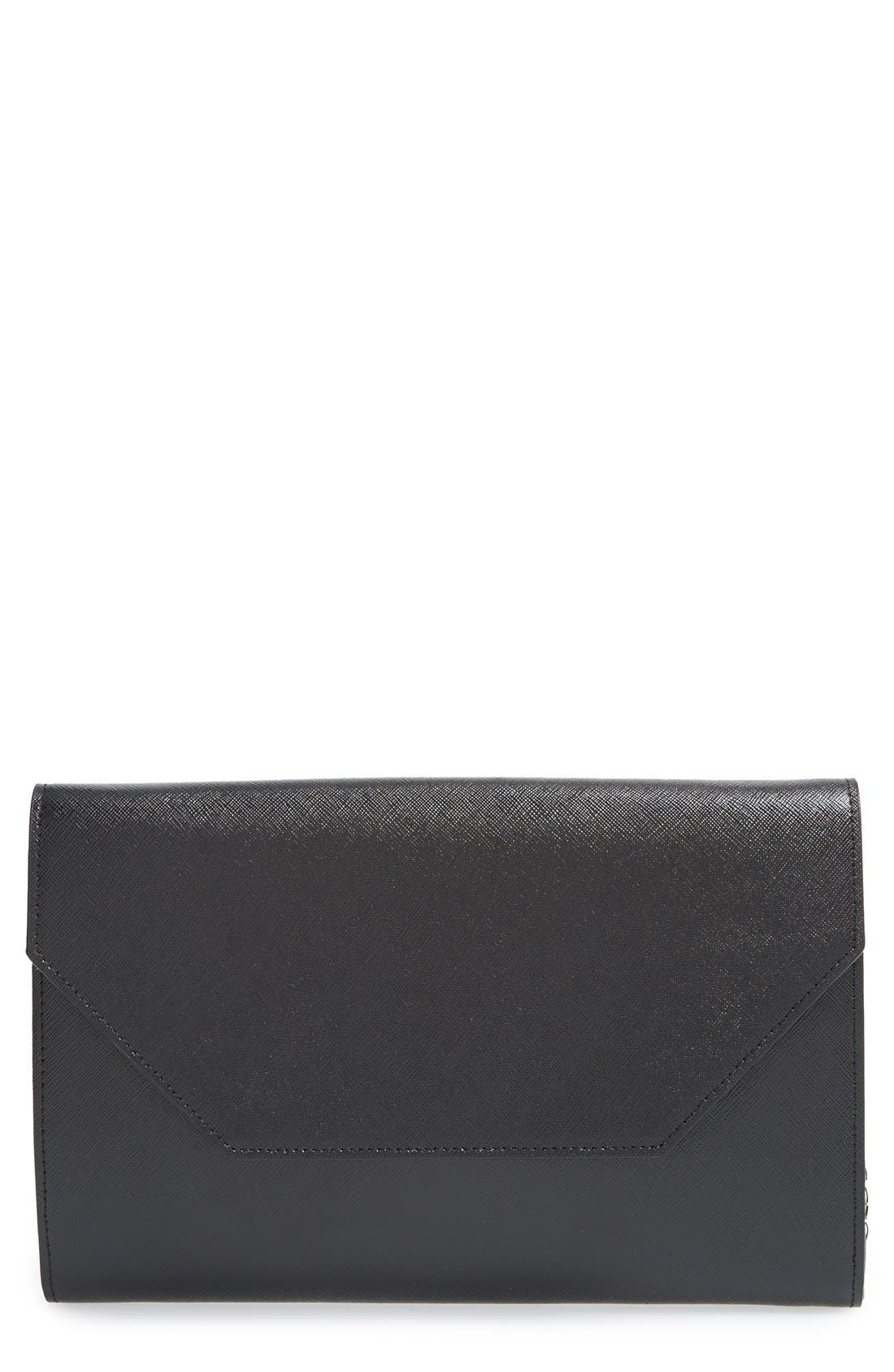 Angled Leather Day Clutch,                             Main thumbnail 1, color,                             001