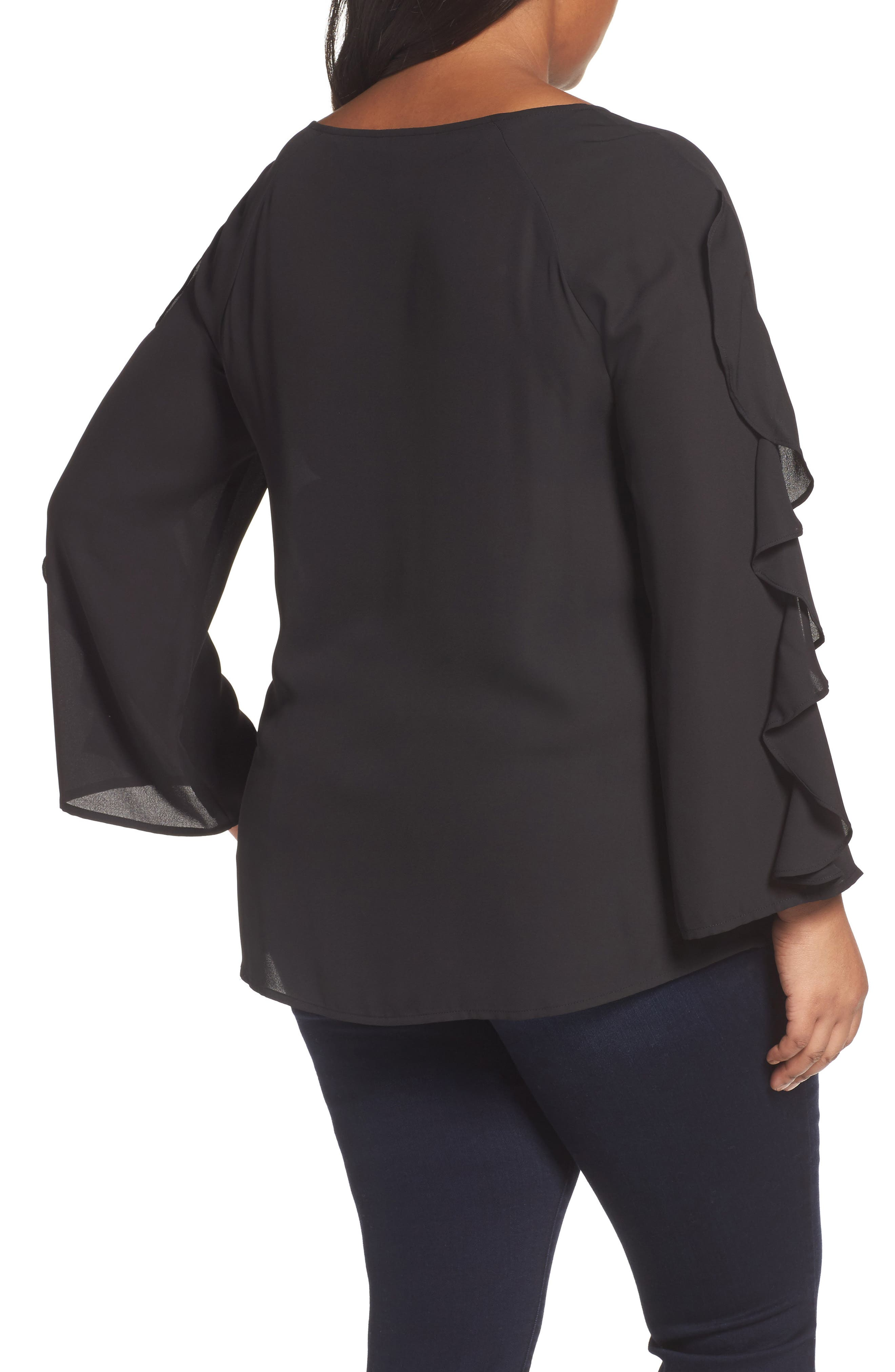 Ruffle Bell Sleeve Blouse,                             Alternate thumbnail 2, color,                             001