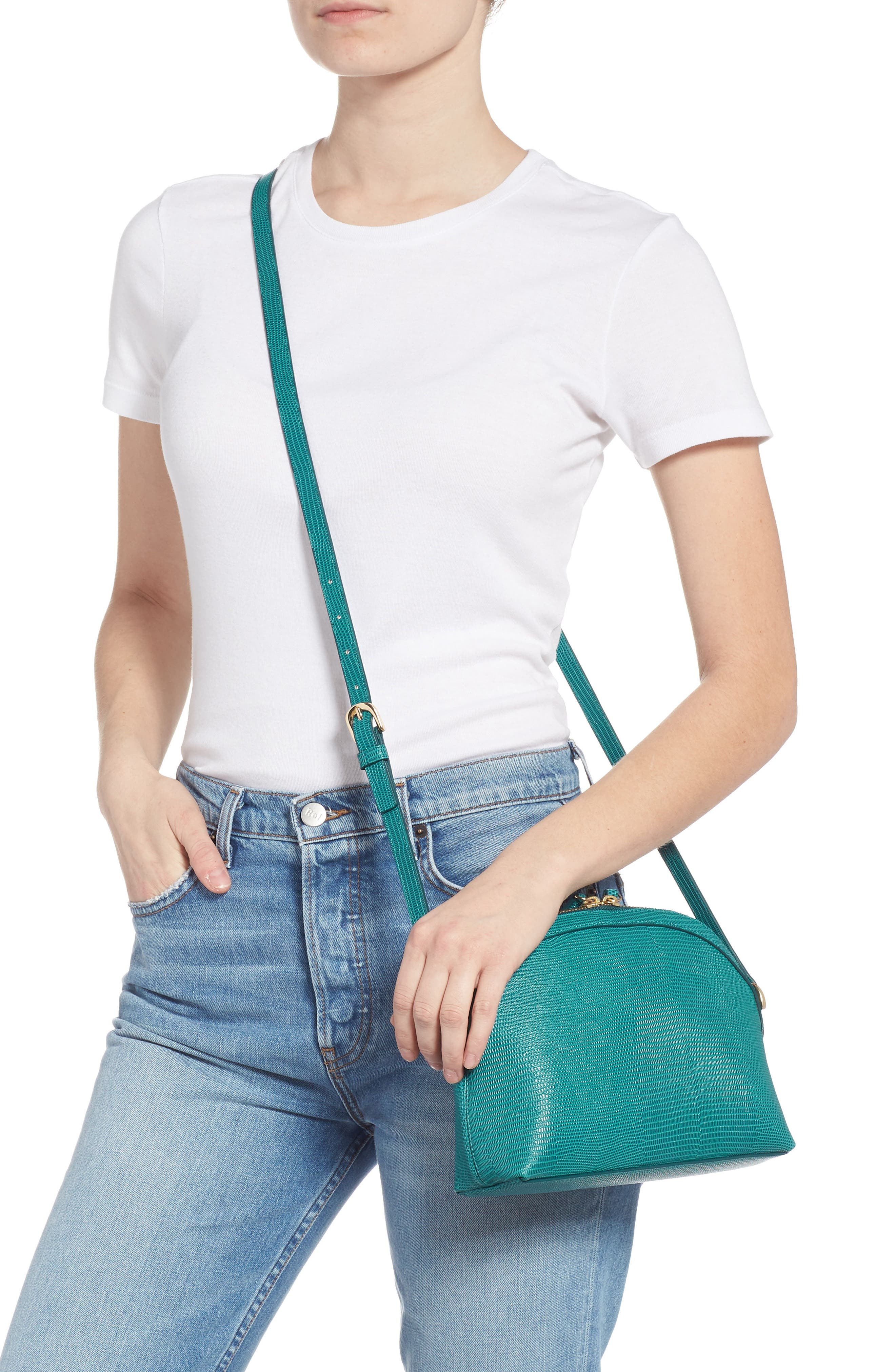 Isobel Half Moon Leather Crossbody Bag,                             Alternate thumbnail 2, color,                             TEAL HARBOR