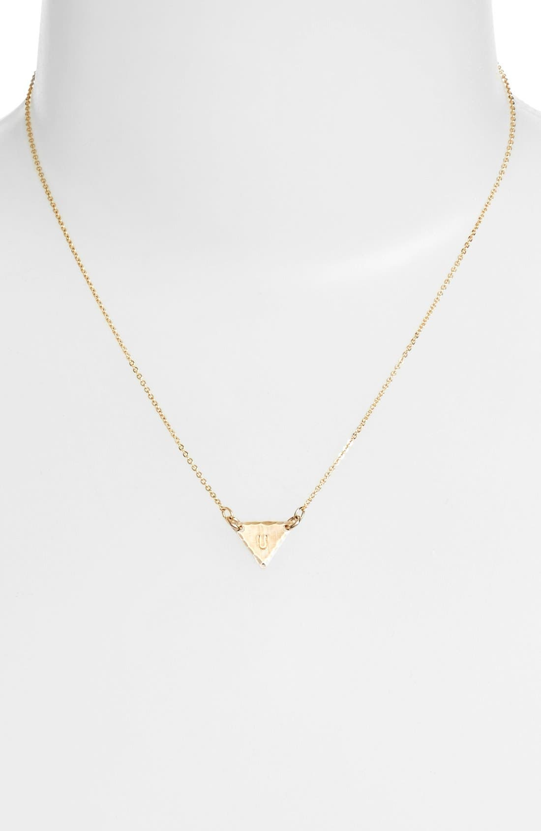 14k-Gold Fill Initial Triangle Necklace,                             Alternate thumbnail 47, color,