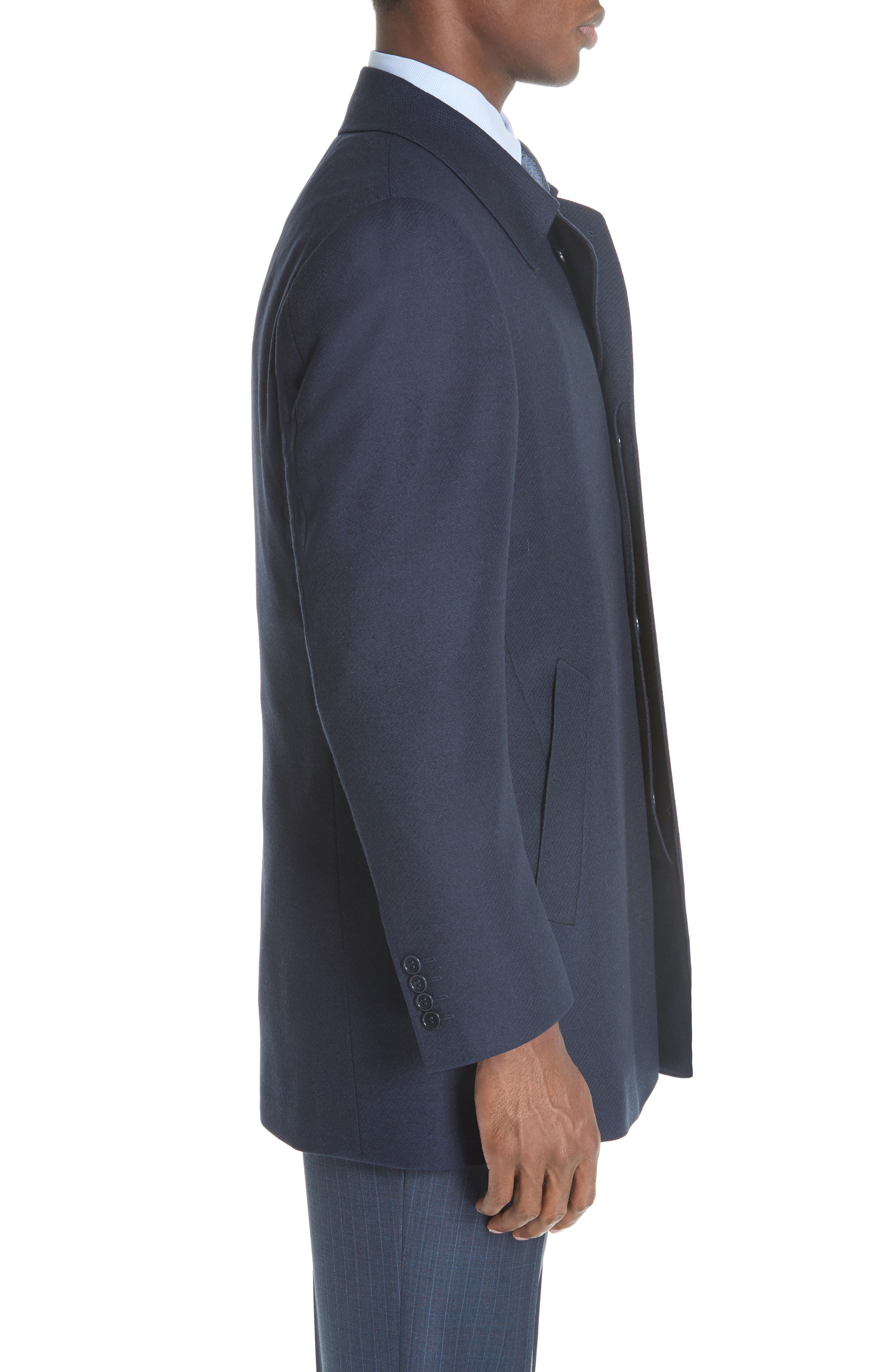 Impeccabile Wool Car Coat,                             Alternate thumbnail 3, color,                             NAVY