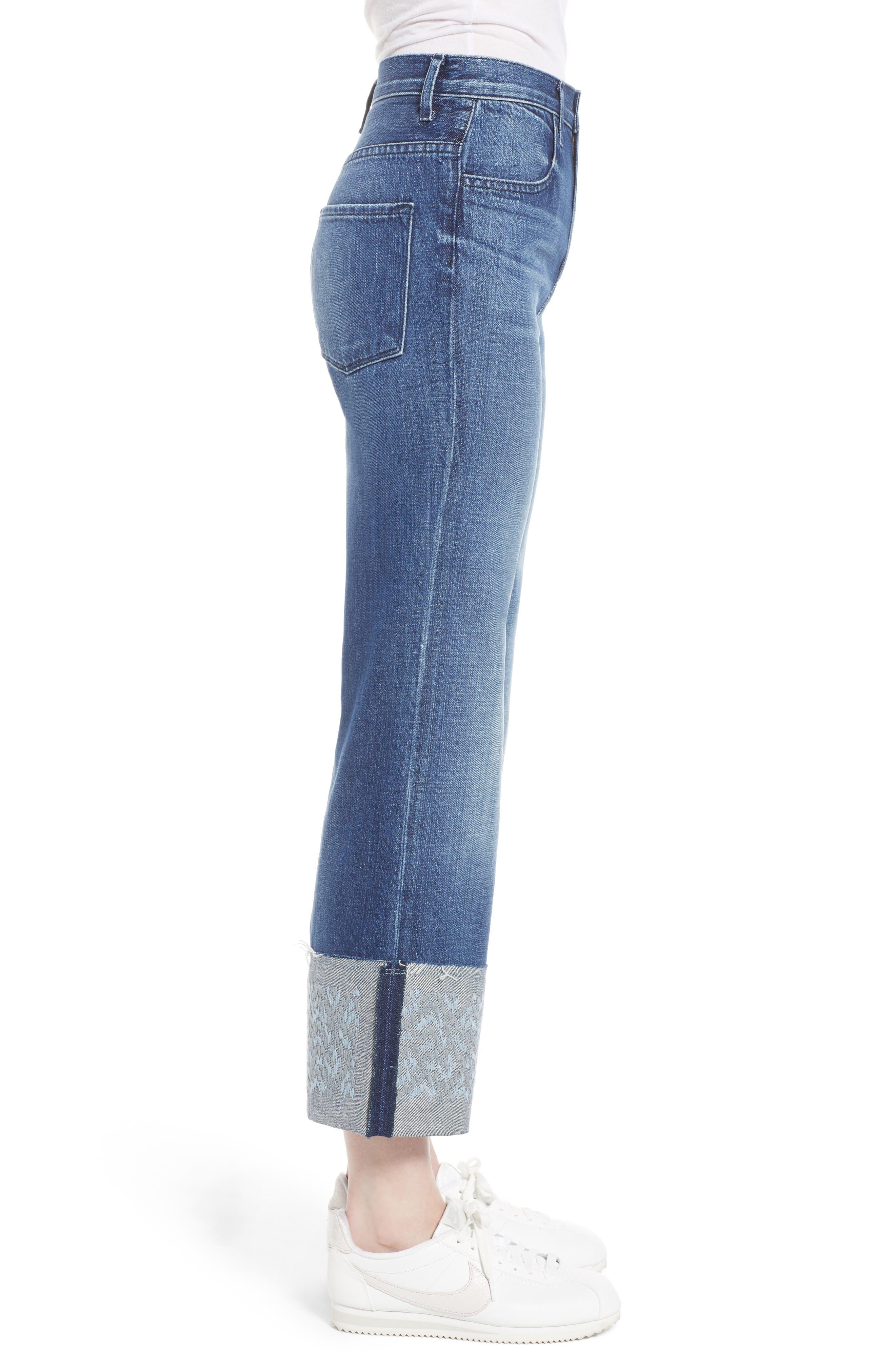 Joan High Waist Crop Wide Leg Jeans,                             Alternate thumbnail 3, color,                             409