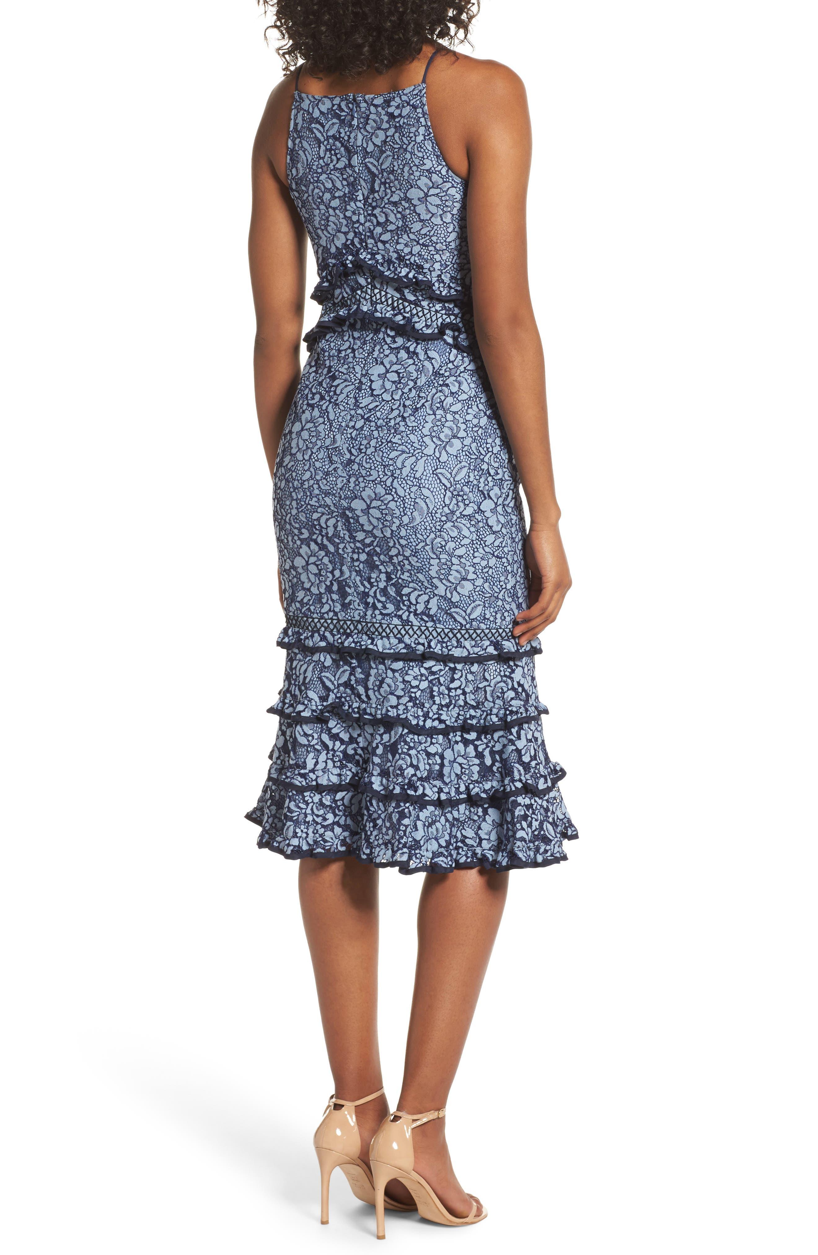 Catch Me Ruffle Lace Sheath Dress,                             Alternate thumbnail 2, color,                             425