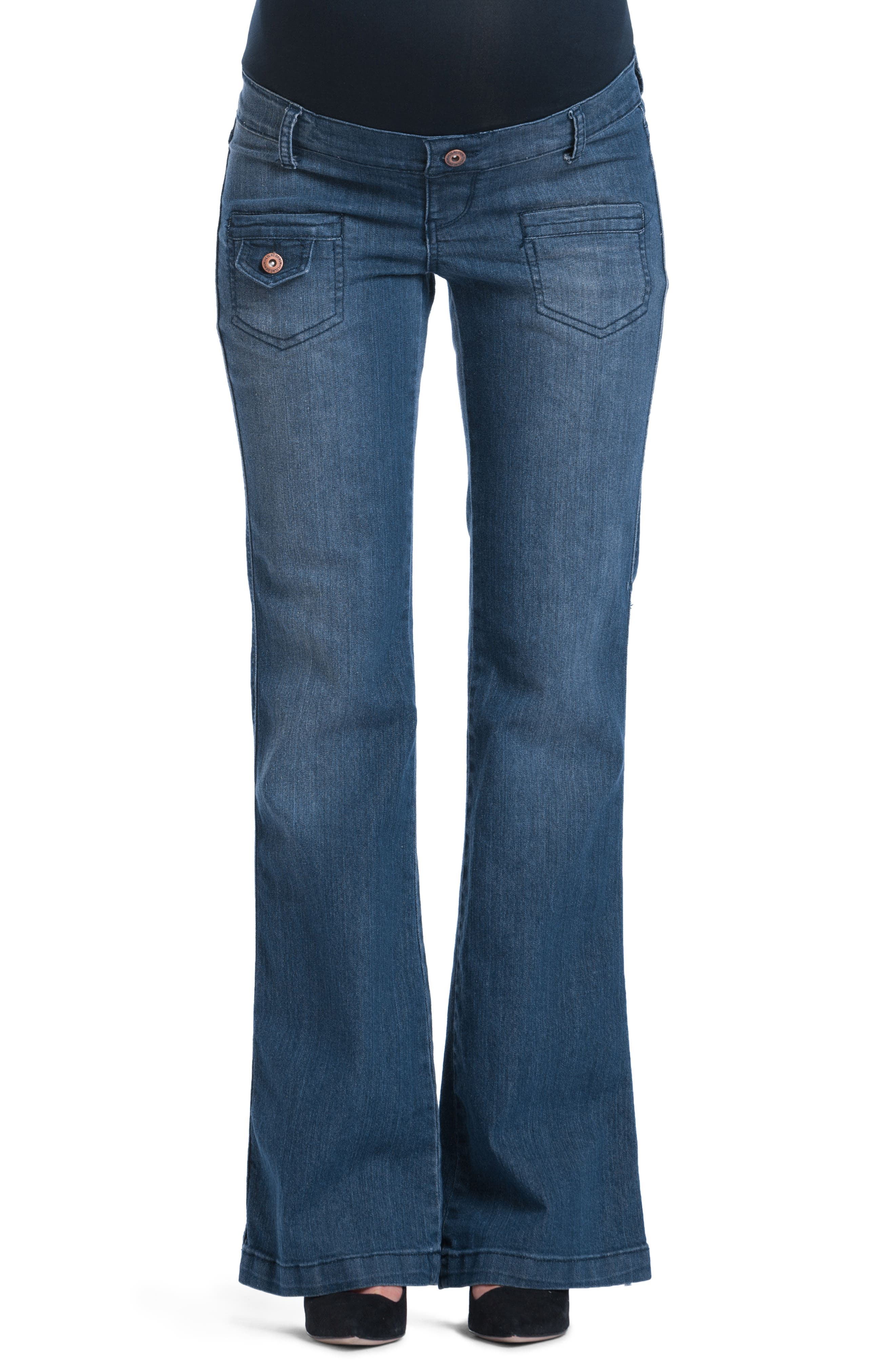 Flare Maternity Stretch Jeans,                             Main thumbnail 1, color,                             401