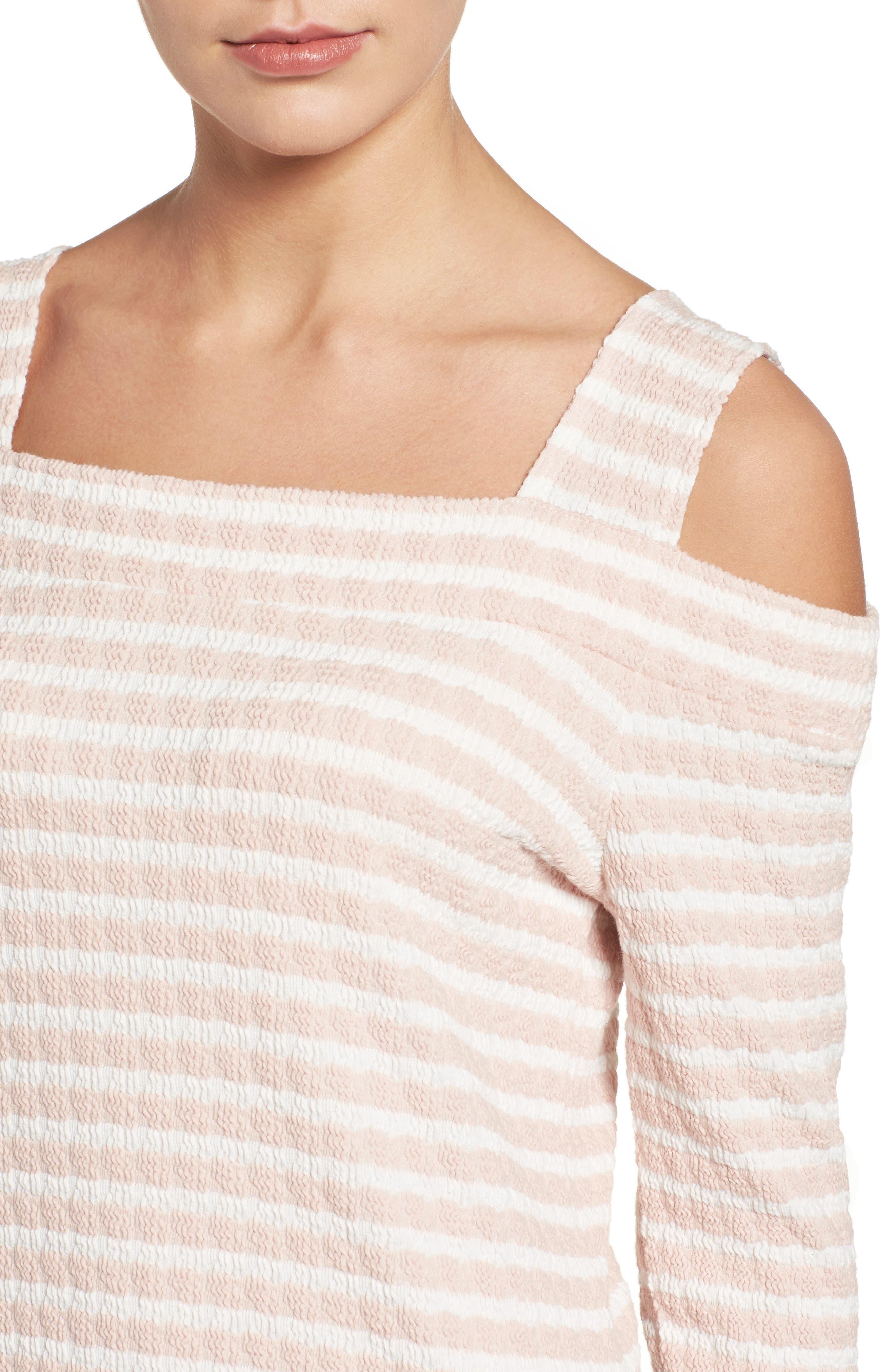 Fridi Texture Stripe Cold Shoulder Top,                             Alternate thumbnail 4, color,                             PINK/ WHITE