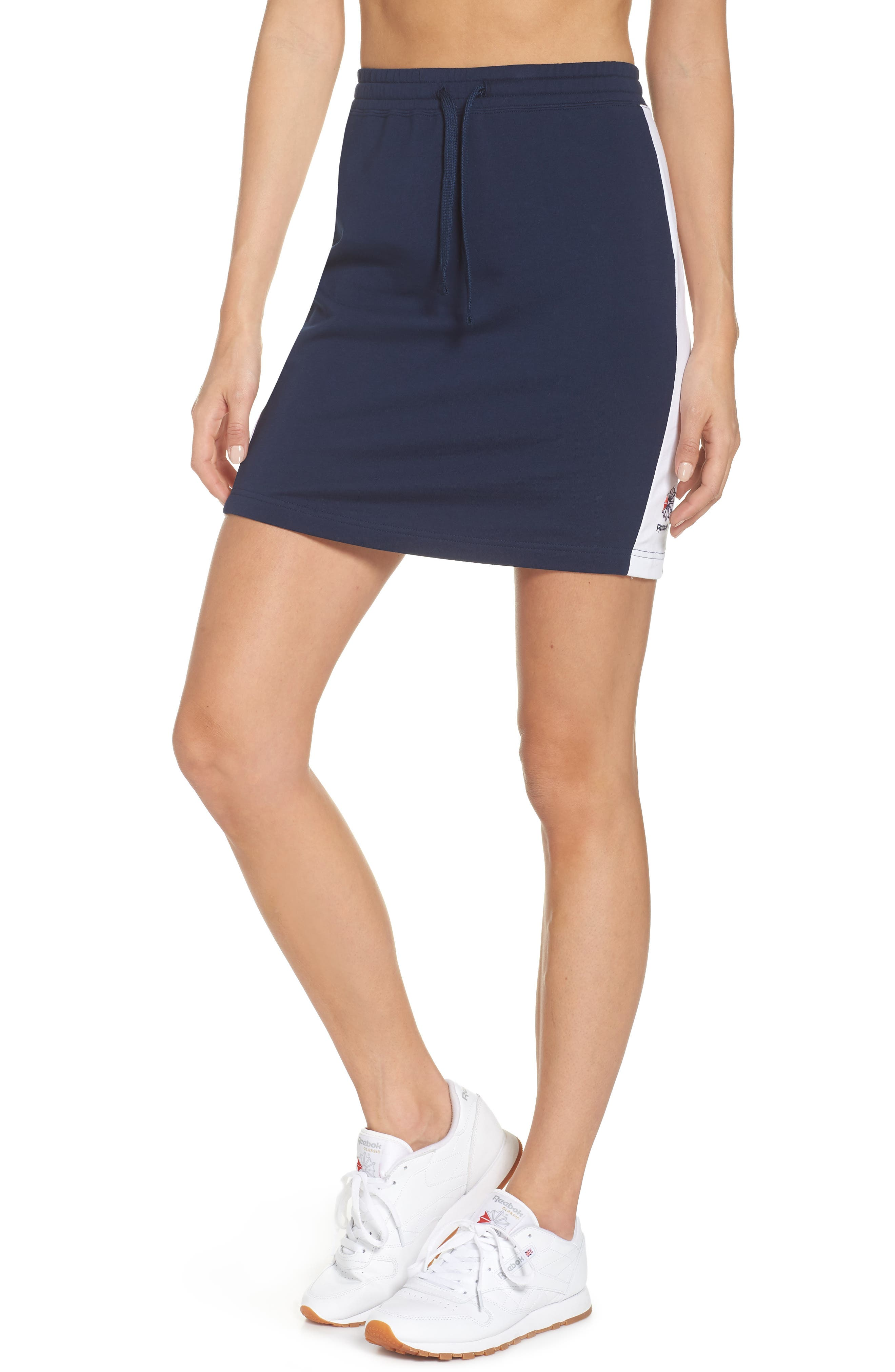 Classics French Terry Skirt,                         Main,                         color, COLLEGIATE NAVY/ WHITE