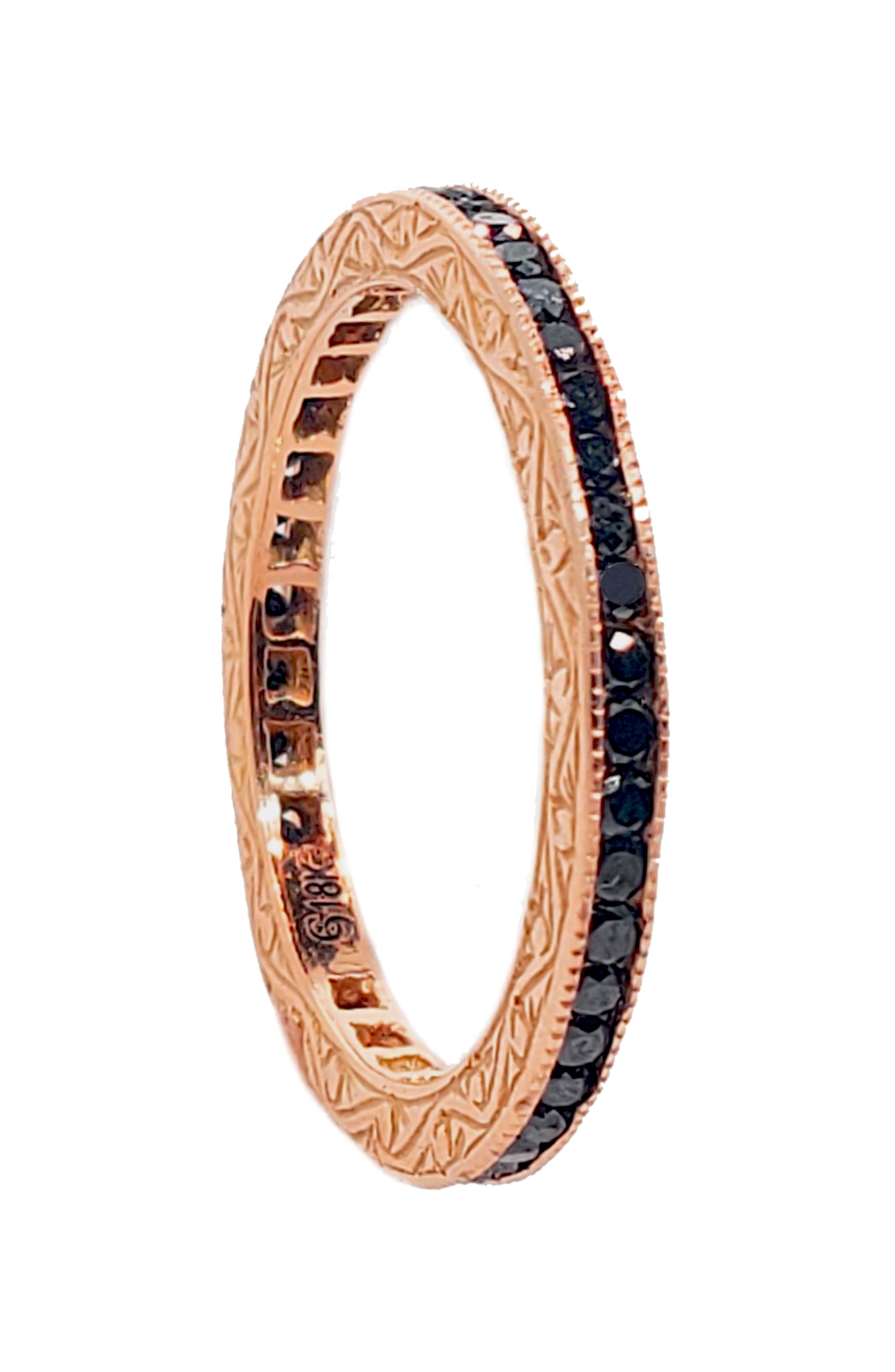 Channel Set Diamond Ring,                         Main,                         color, ROSE GOLD/ BLACK DIAMOND