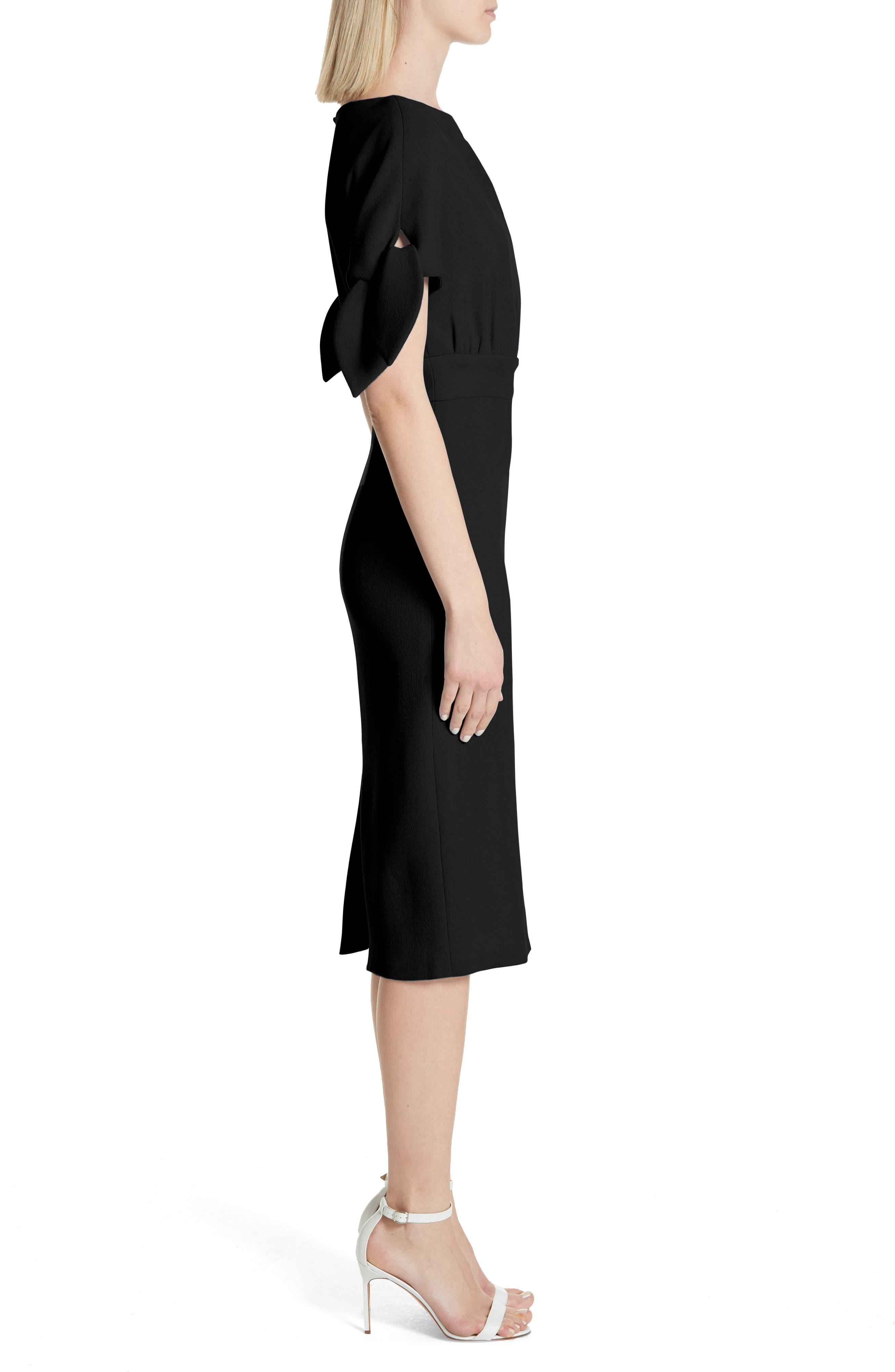Tie Sleeve Wool Blend Sheath Dress,                             Alternate thumbnail 3, color,                             001