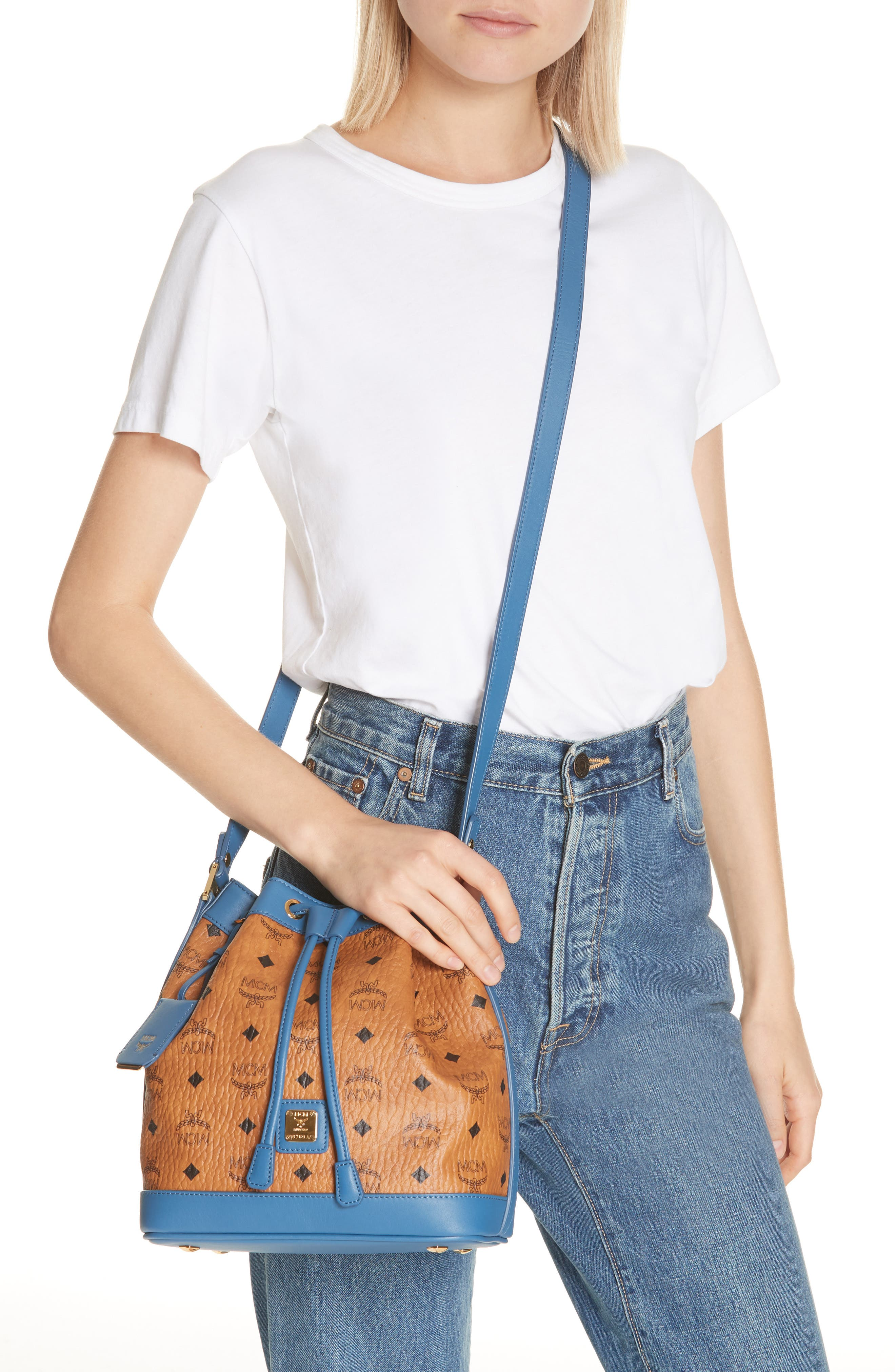 Small Visetos Drawstring Crossbody Bag,                             Alternate thumbnail 2, color,                             COGNAC/ SLATE BLUE