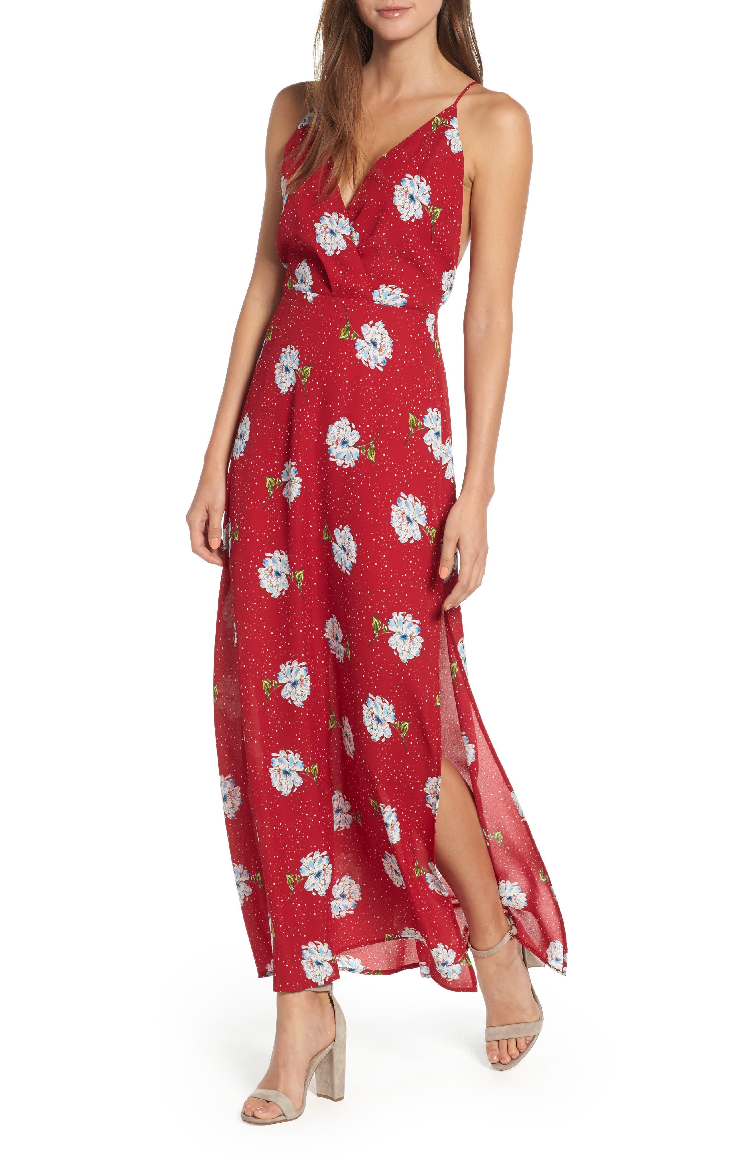 Surplice Maxi Dress,                             Main thumbnail 1, color,                             602