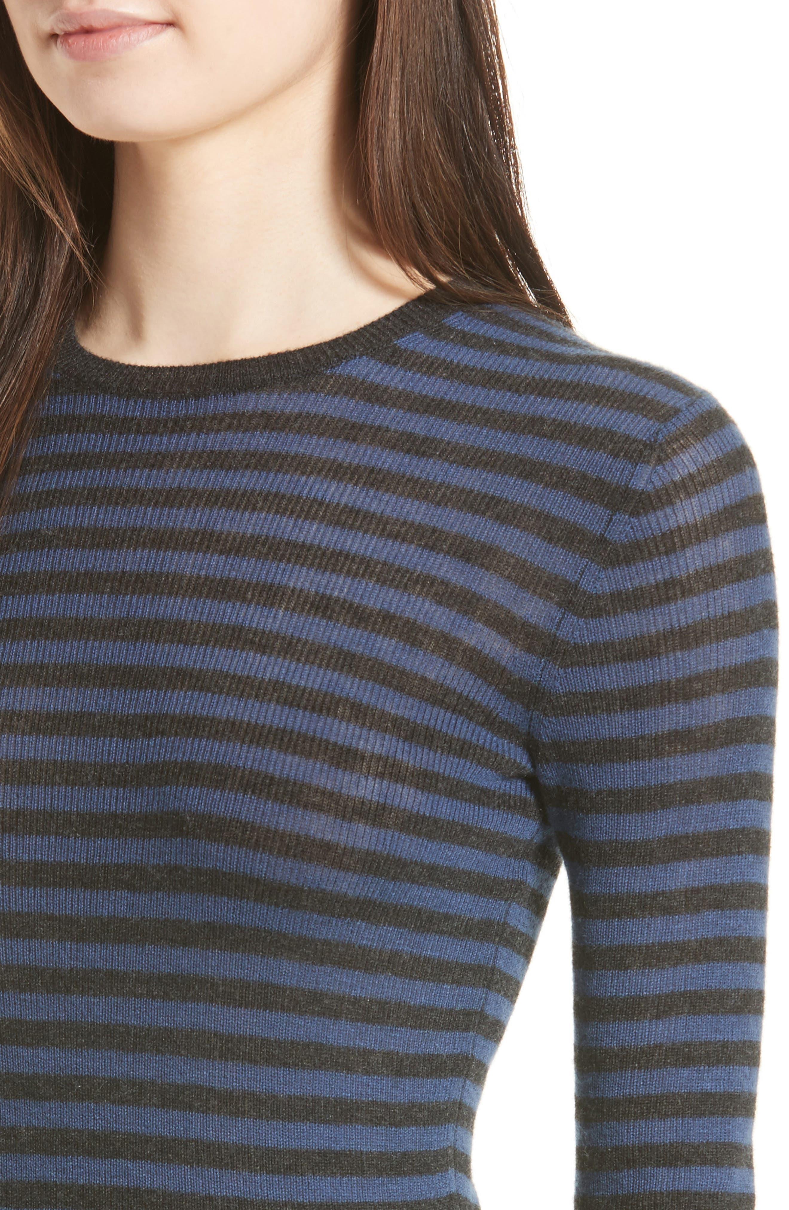 Stripe Cashmere Sweater,                             Alternate thumbnail 4, color,                             472