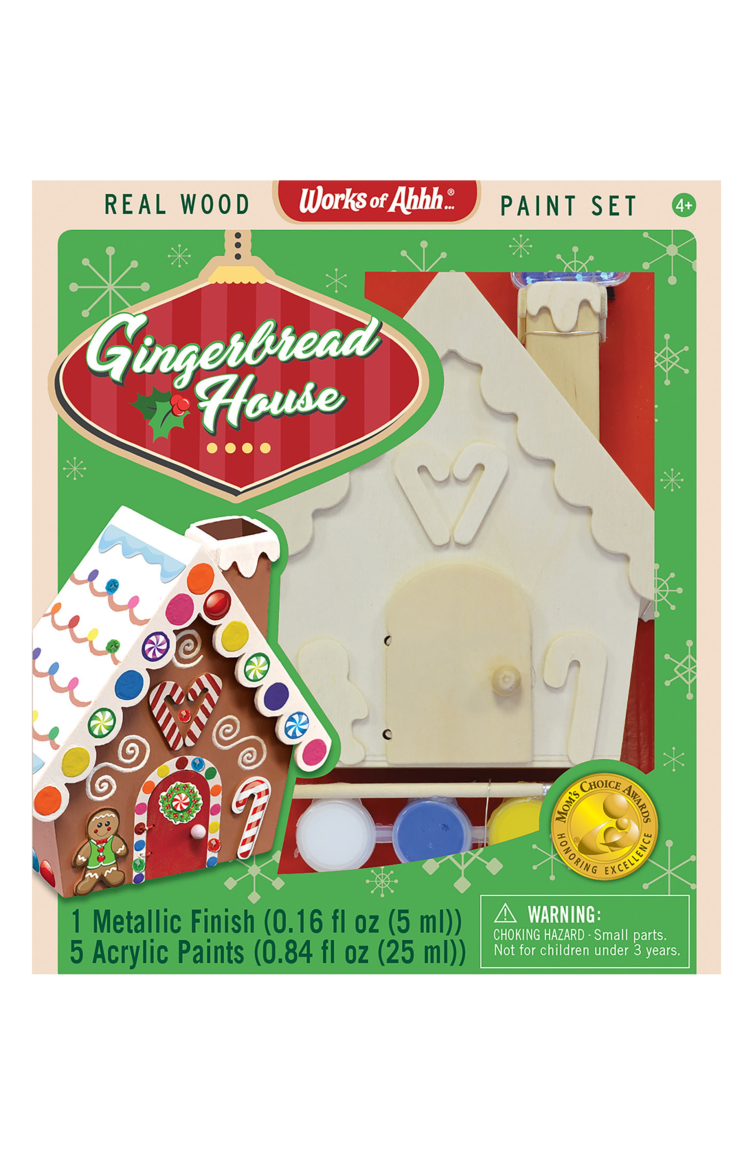 Gingerbread House Wood Craft & Paint Kit, Main, color, 960