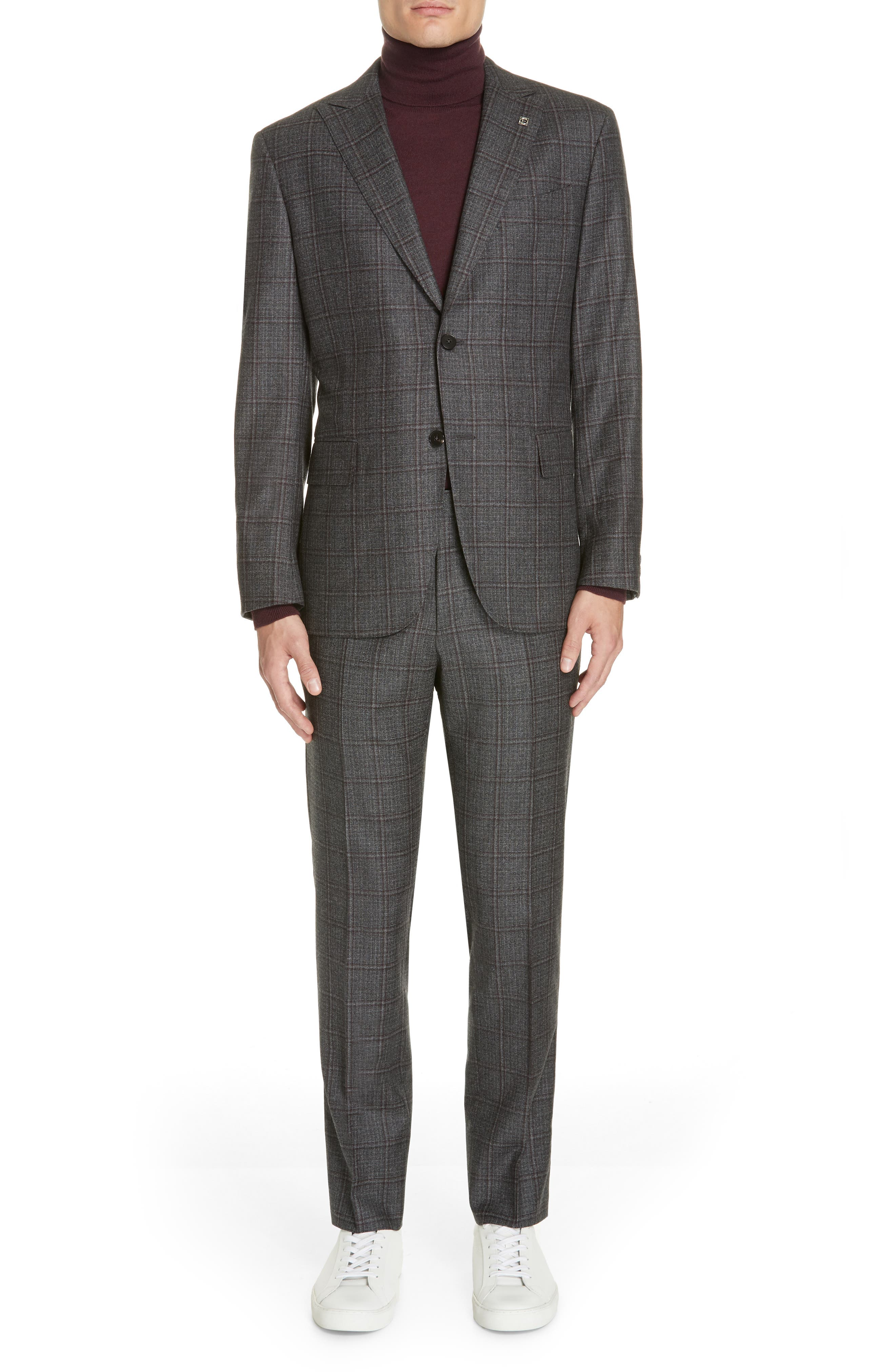 Trim Fit Plaid Wool Suit,                             Main thumbnail 1, color,                             GREY/ BURGUNDY