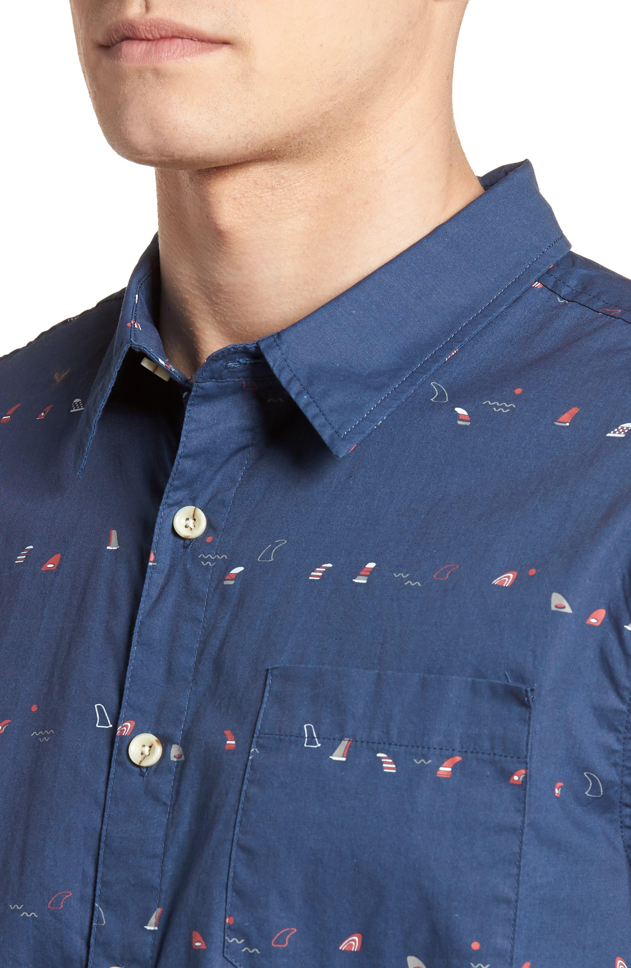Single Fin Regular Fit Short Sleeve Sport Shirt,                             Alternate thumbnail 8, color,