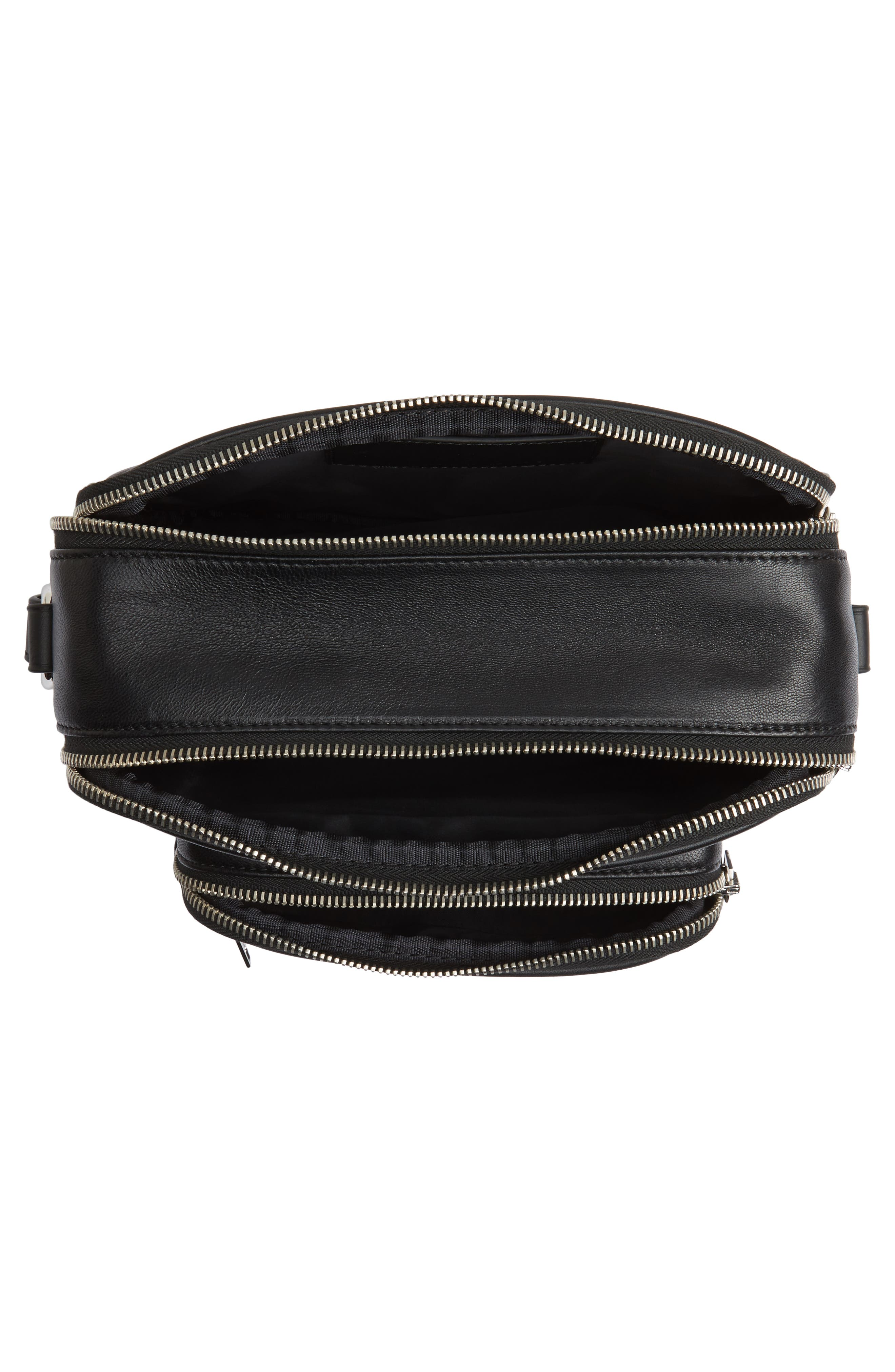 Washed Leather Crossbody Bag,                             Alternate thumbnail 4, color,                             BLACK