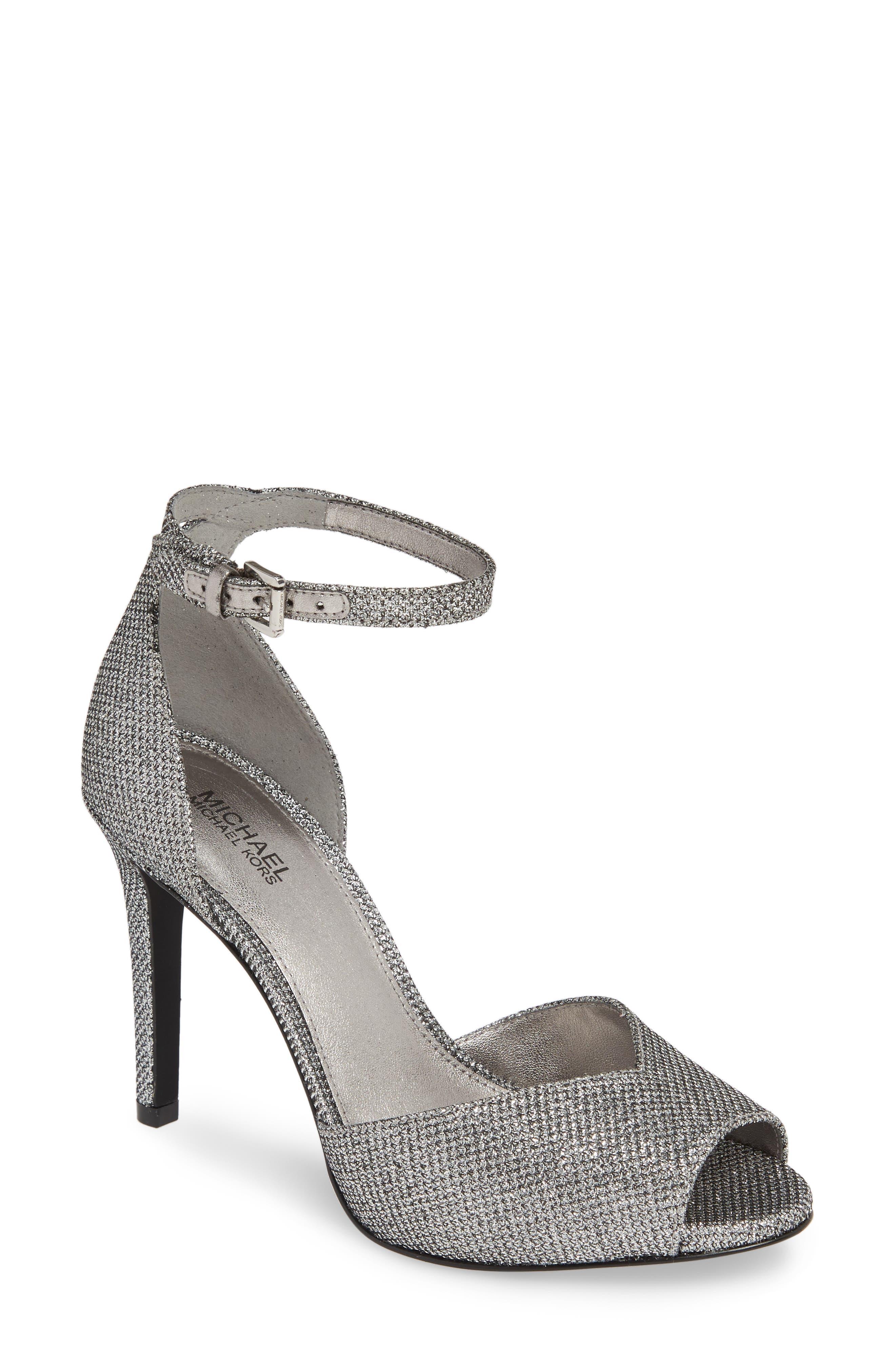 Michael Michael Kors Cambria Metallic Ankle Strap Sandal- Metallic