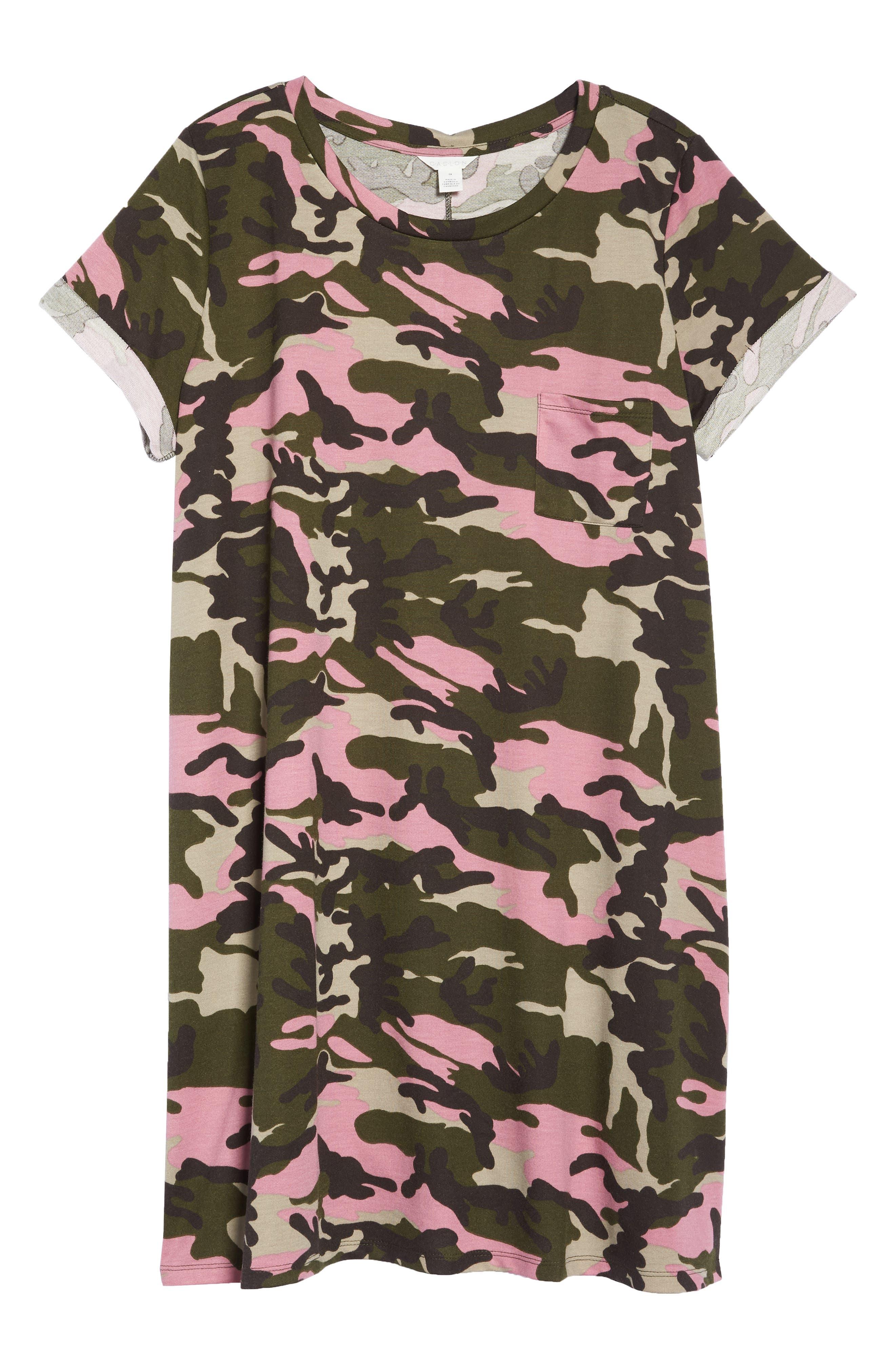 Camo T-Shirt Dress,                             Alternate thumbnail 7, color,                             PINK CAMO