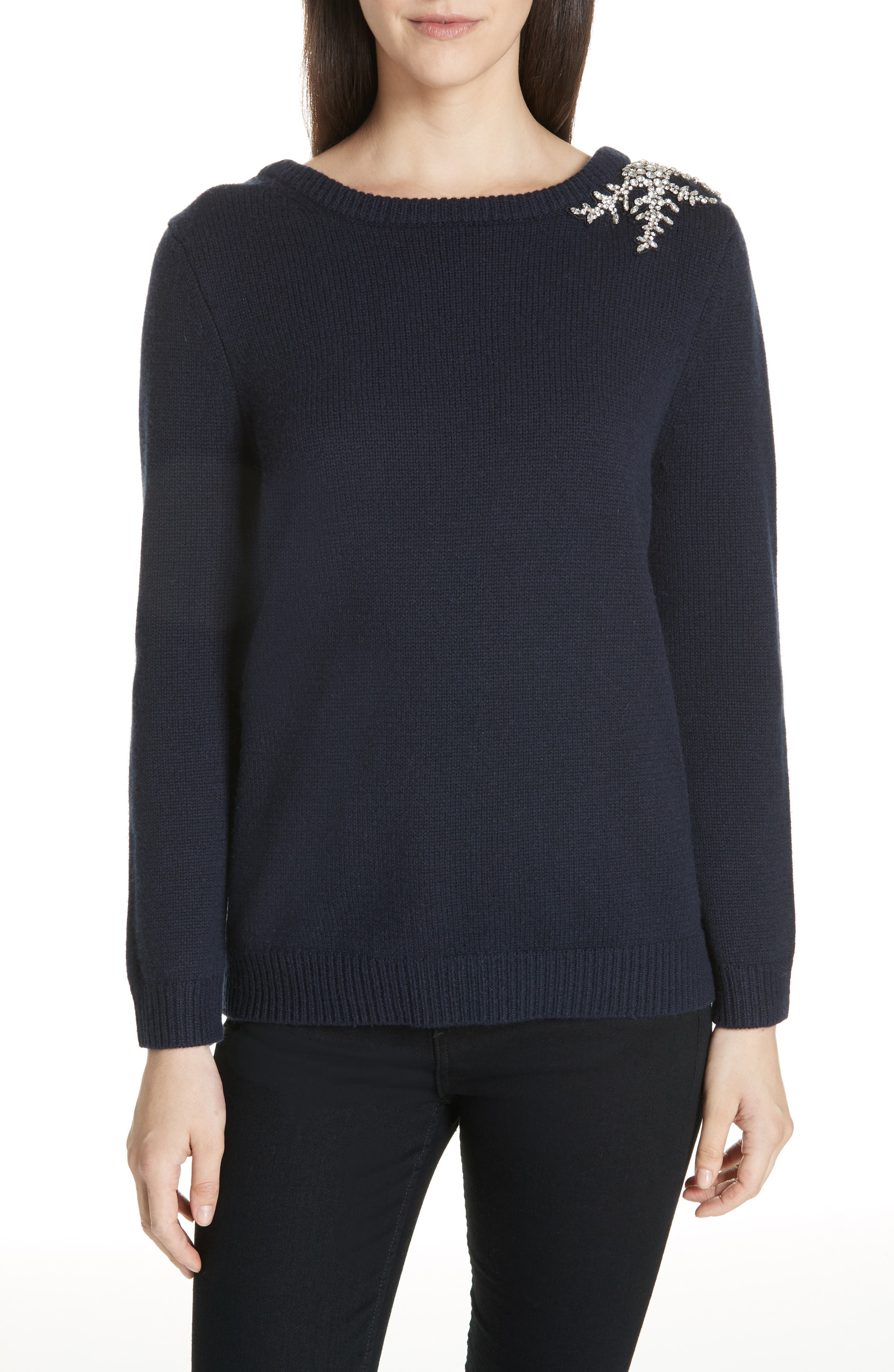 BA&SH Ourea Jewel Detail Wool Cashmere Sweater in Blue