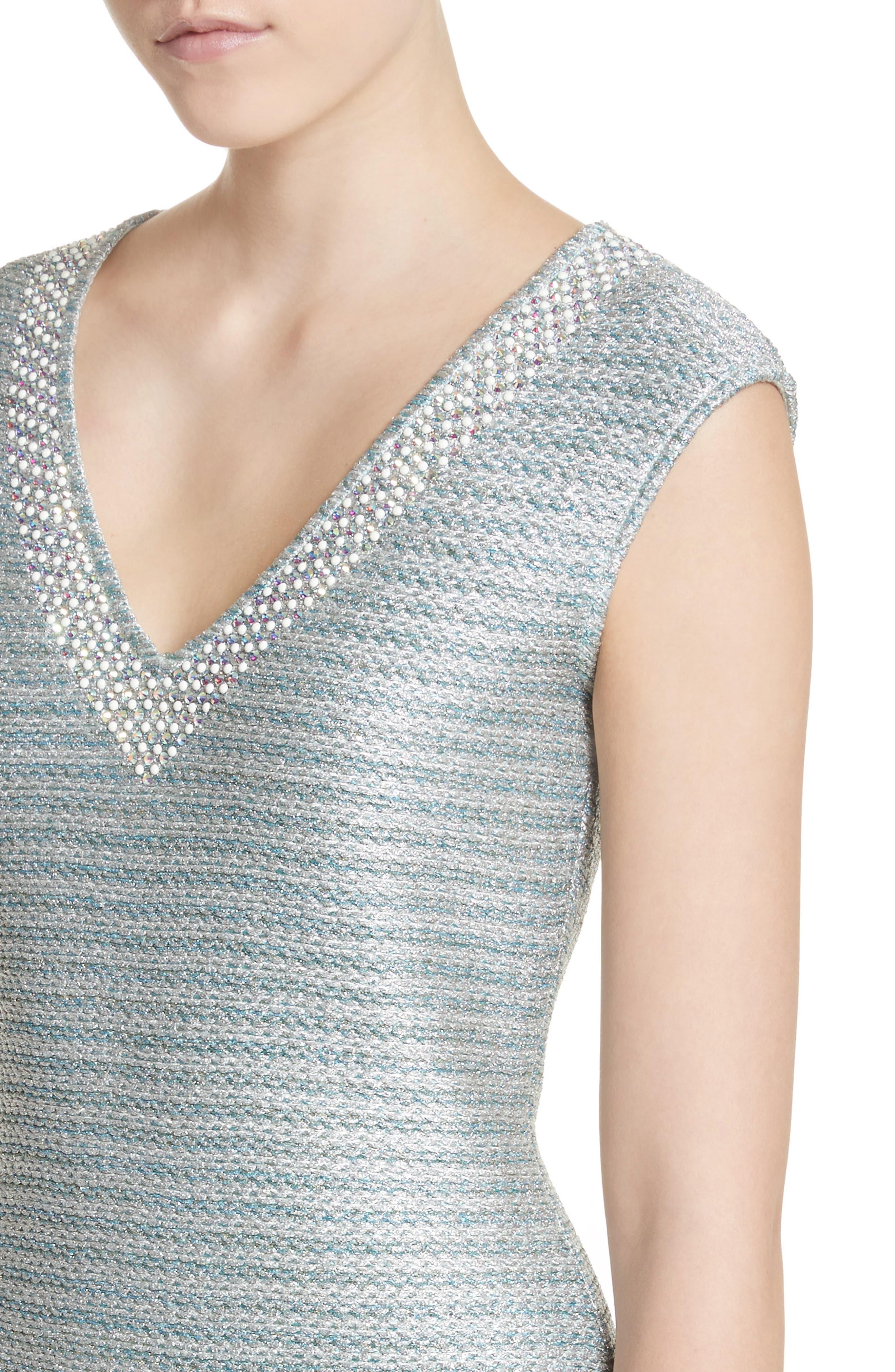 Gleam Metallic Knit Sheath Dress,                             Alternate thumbnail 4, color,                             350