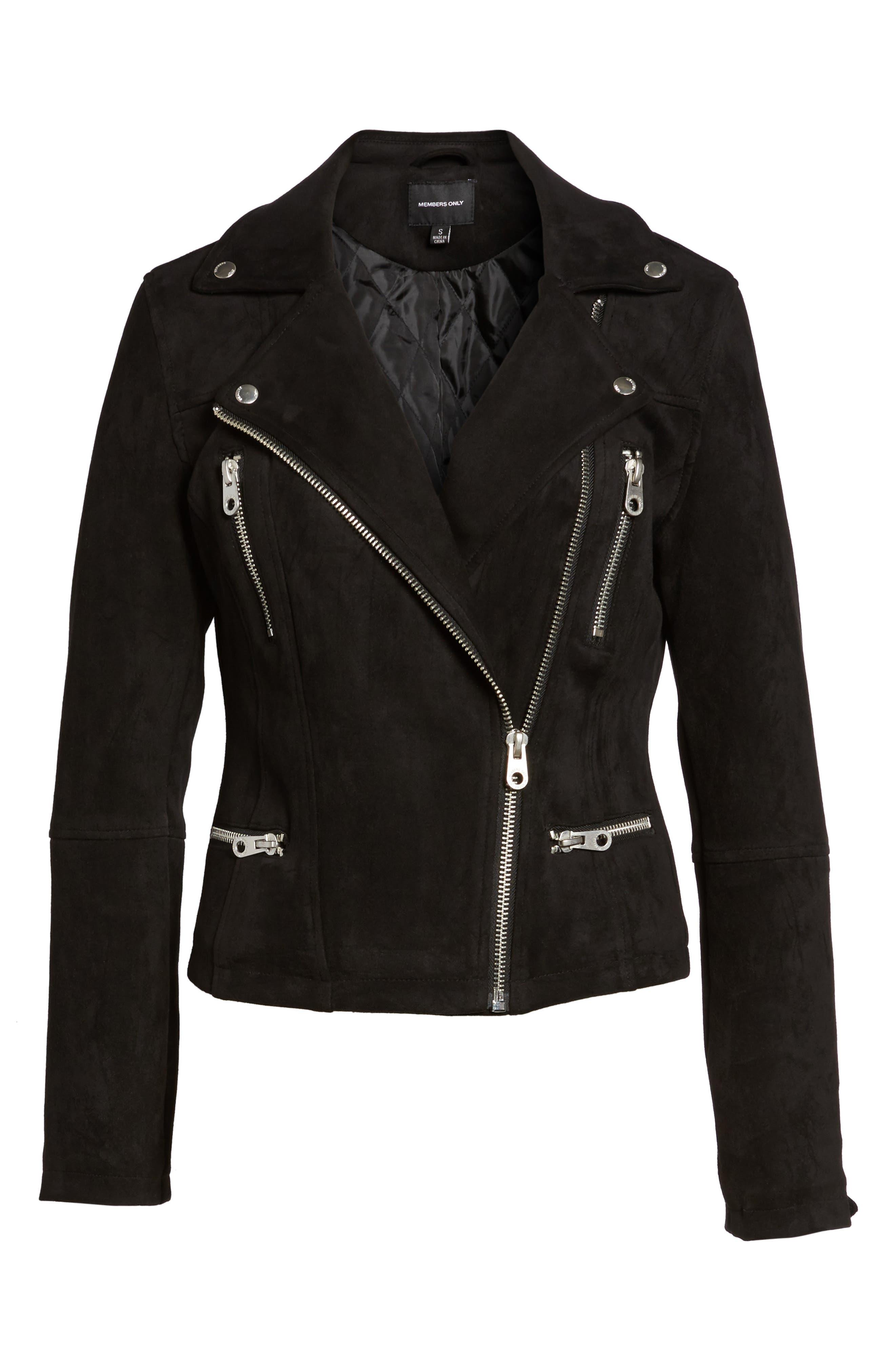 Faux Suede Biker Jacket,                             Alternate thumbnail 5, color,                             001