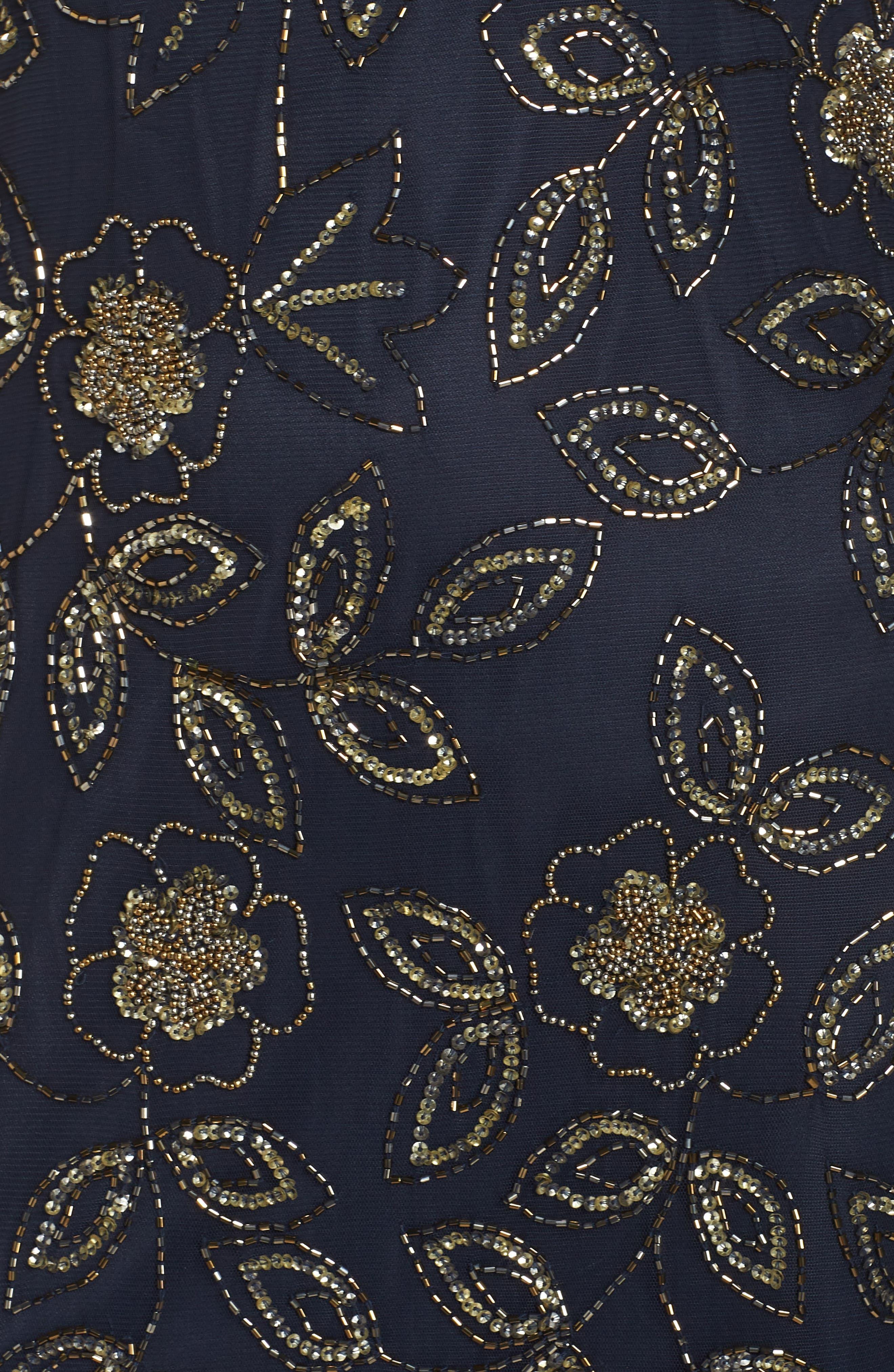 Beaded Godet Gown,                             Alternate thumbnail 5, color,                             410