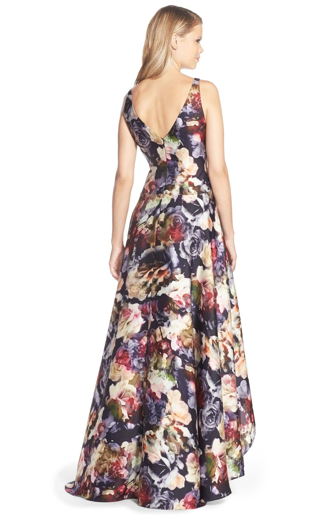 ADRIANNA PAPELL,                             Floral Print Charmeuse Fit & Flare Gown,                             Alternate thumbnail 2, color,                             643