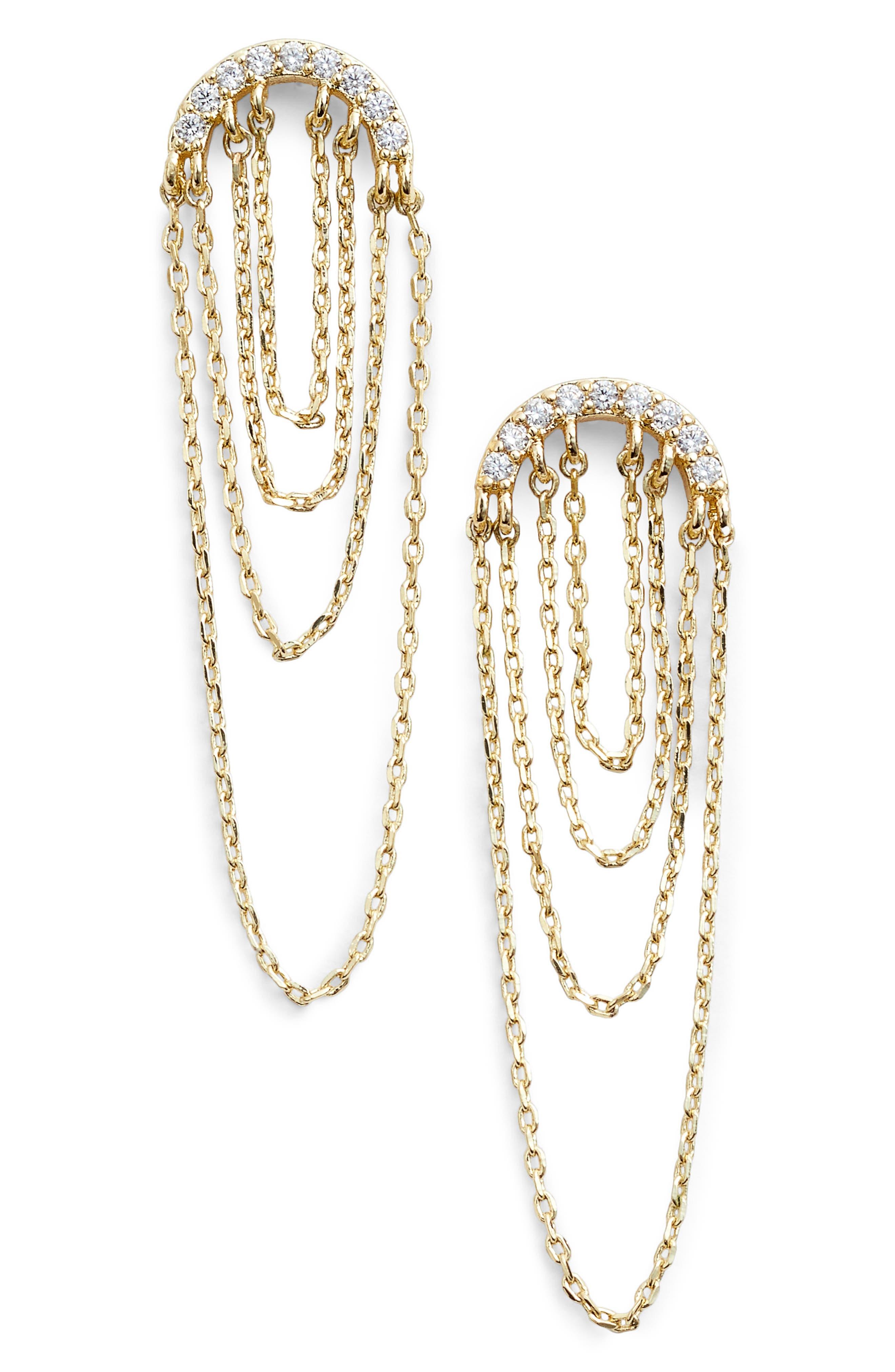 Pavé Arc Chain Drop Earrings,                             Main thumbnail 2, color,