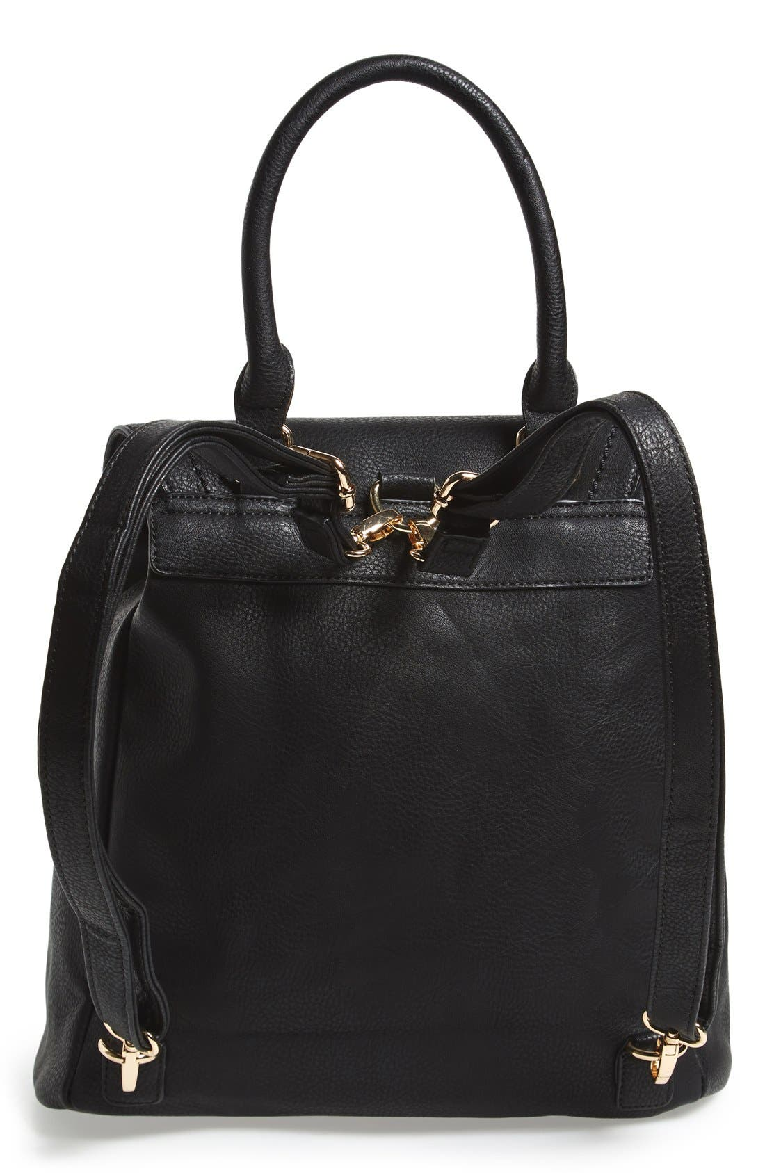Emery Faux Leather Backpack,                             Alternate thumbnail 5, color,                             BLACK