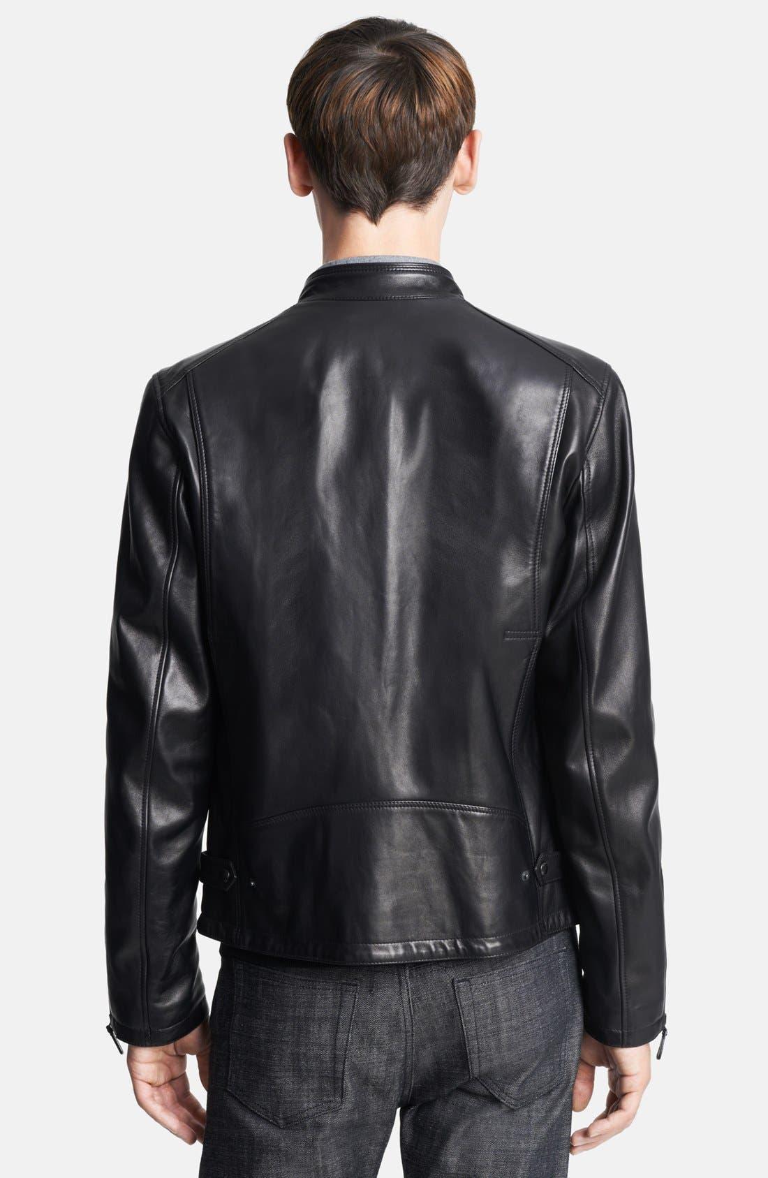 London 'Sterling' Leather Biker Jacket,                             Alternate thumbnail 3, color,                             001