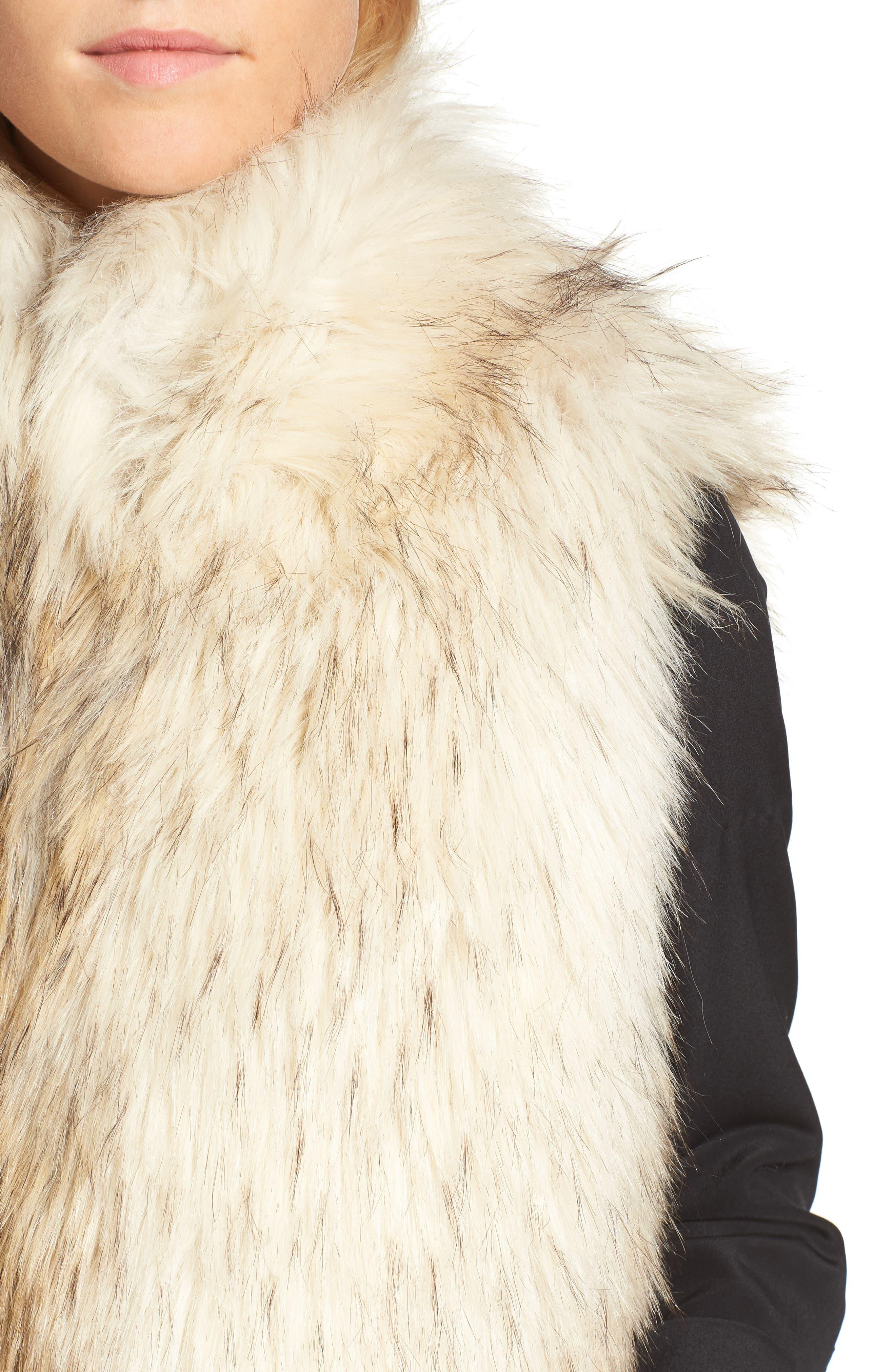 Elvan Open Front Faux Fur Vest,                             Alternate thumbnail 4, color,                             152
