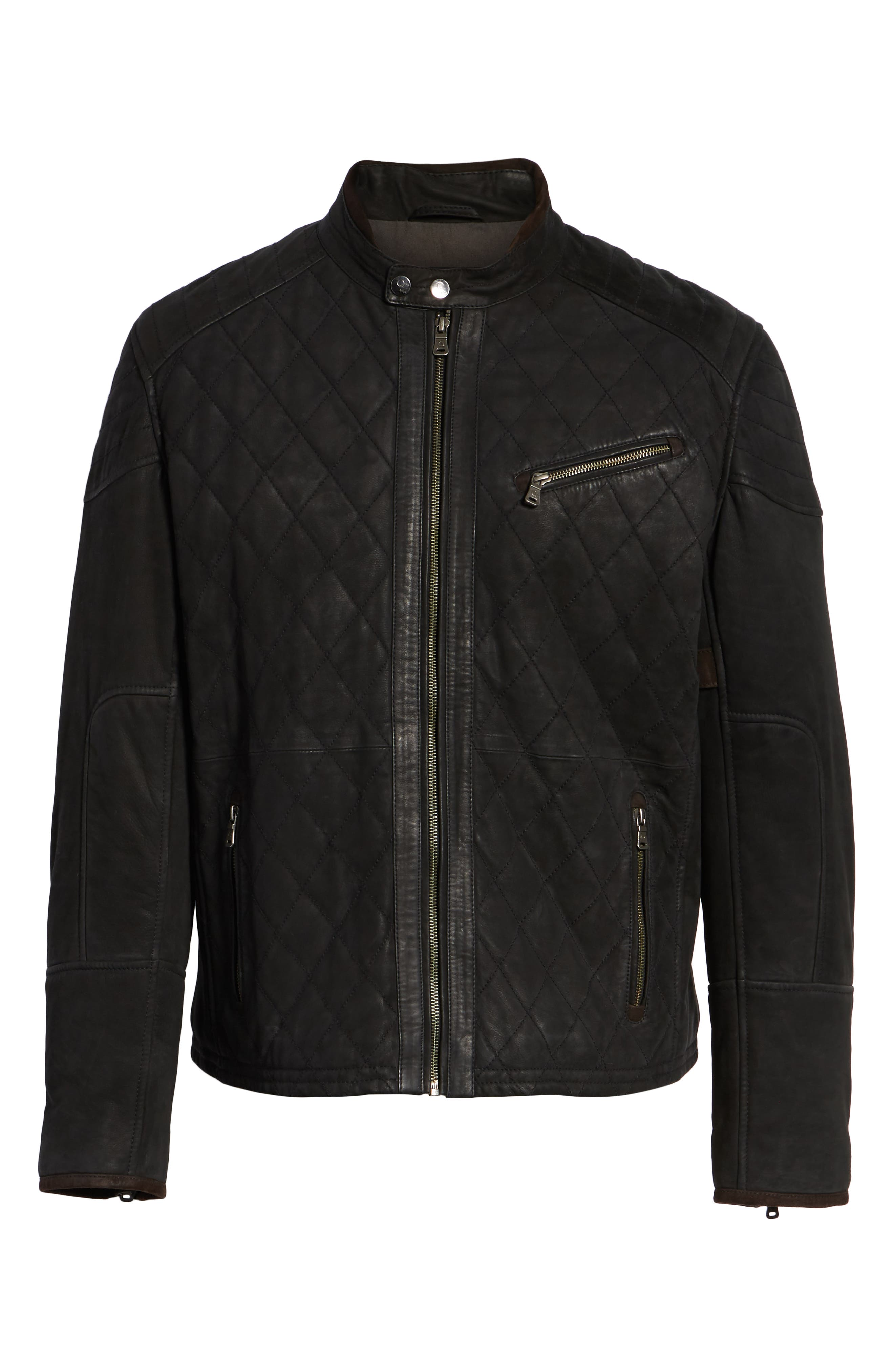 Quilted Leather Moto Jacket,                             Alternate thumbnail 5, color,