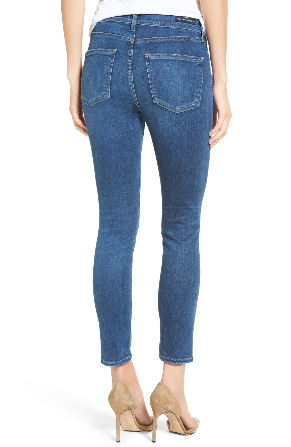 Rocket High Waist Crop Skinny Jeans,                             Alternate thumbnail 3, color,                             430