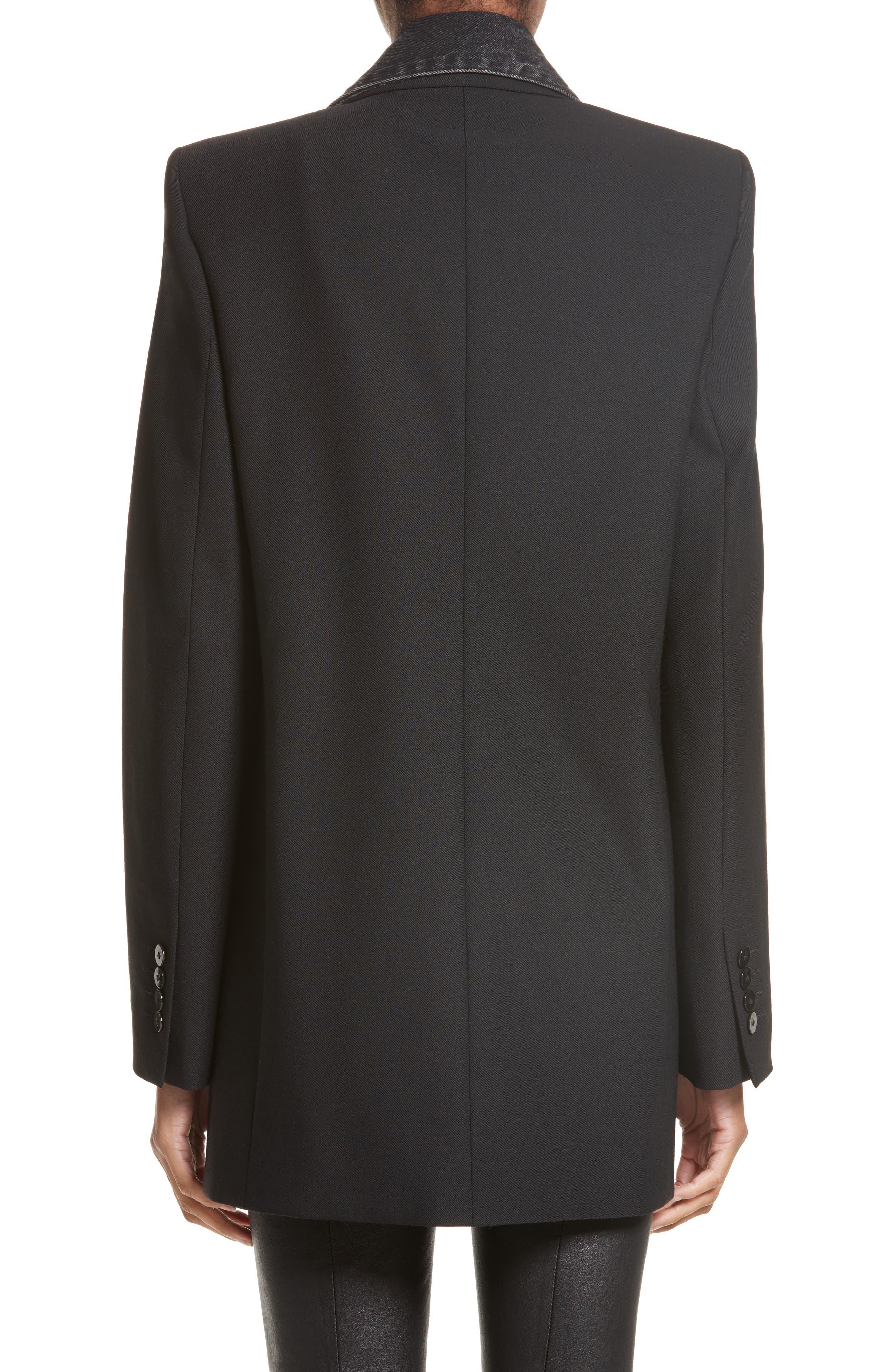 Denim & Wool Blend Layered Jacket,                             Alternate thumbnail 2, color,                             001