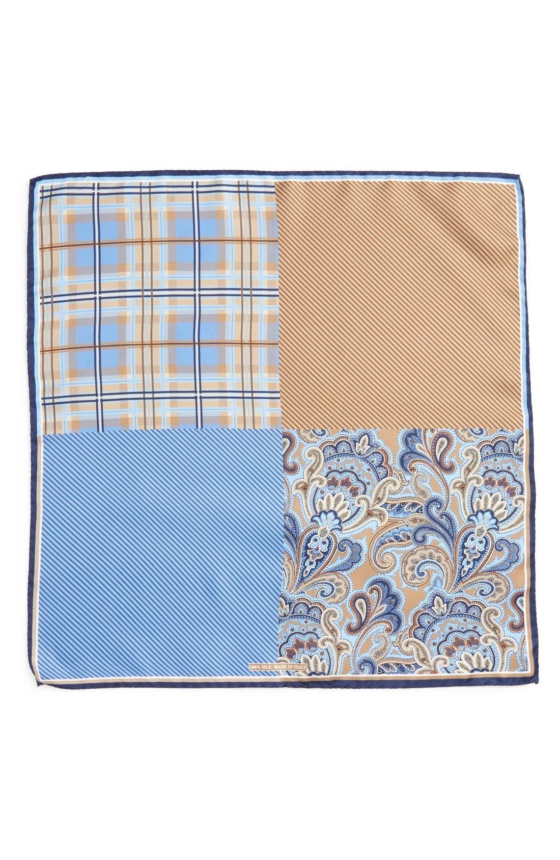'Three Panel' Silk Pocket Square,                             Alternate thumbnail 2, color,                             BROWN/BLUE