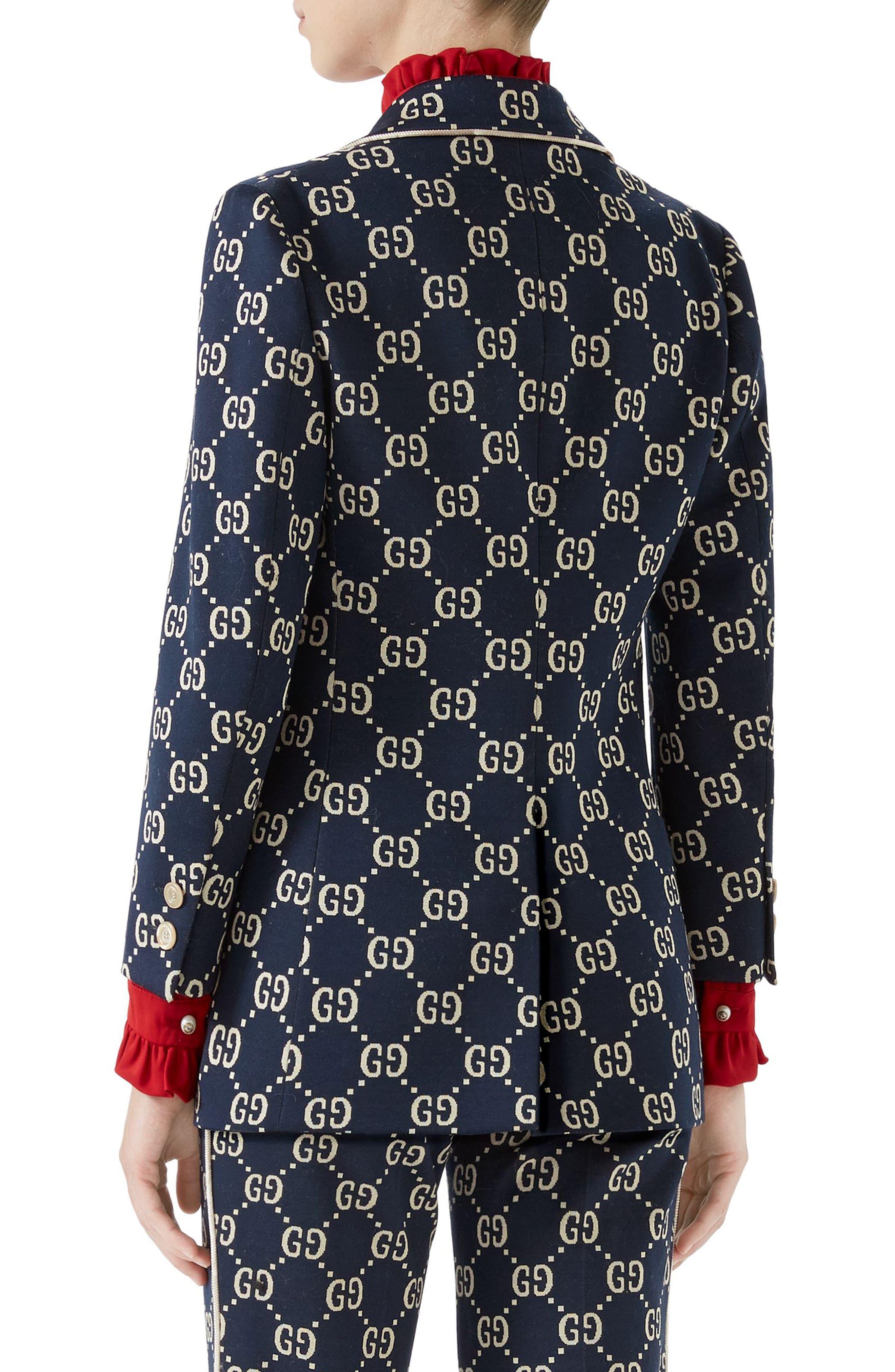 GG Embroidered Jersey Blazer,                             Alternate thumbnail 2, color,                             CASPIAN/ MULTICOLOR