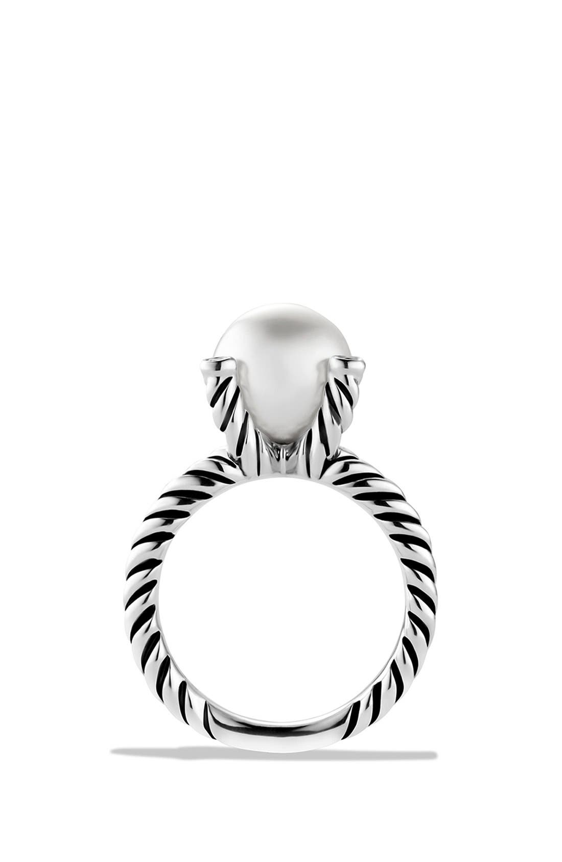 Cable Pearl Ring with Diamonds,                             Alternate thumbnail 2, color,                             PEARL