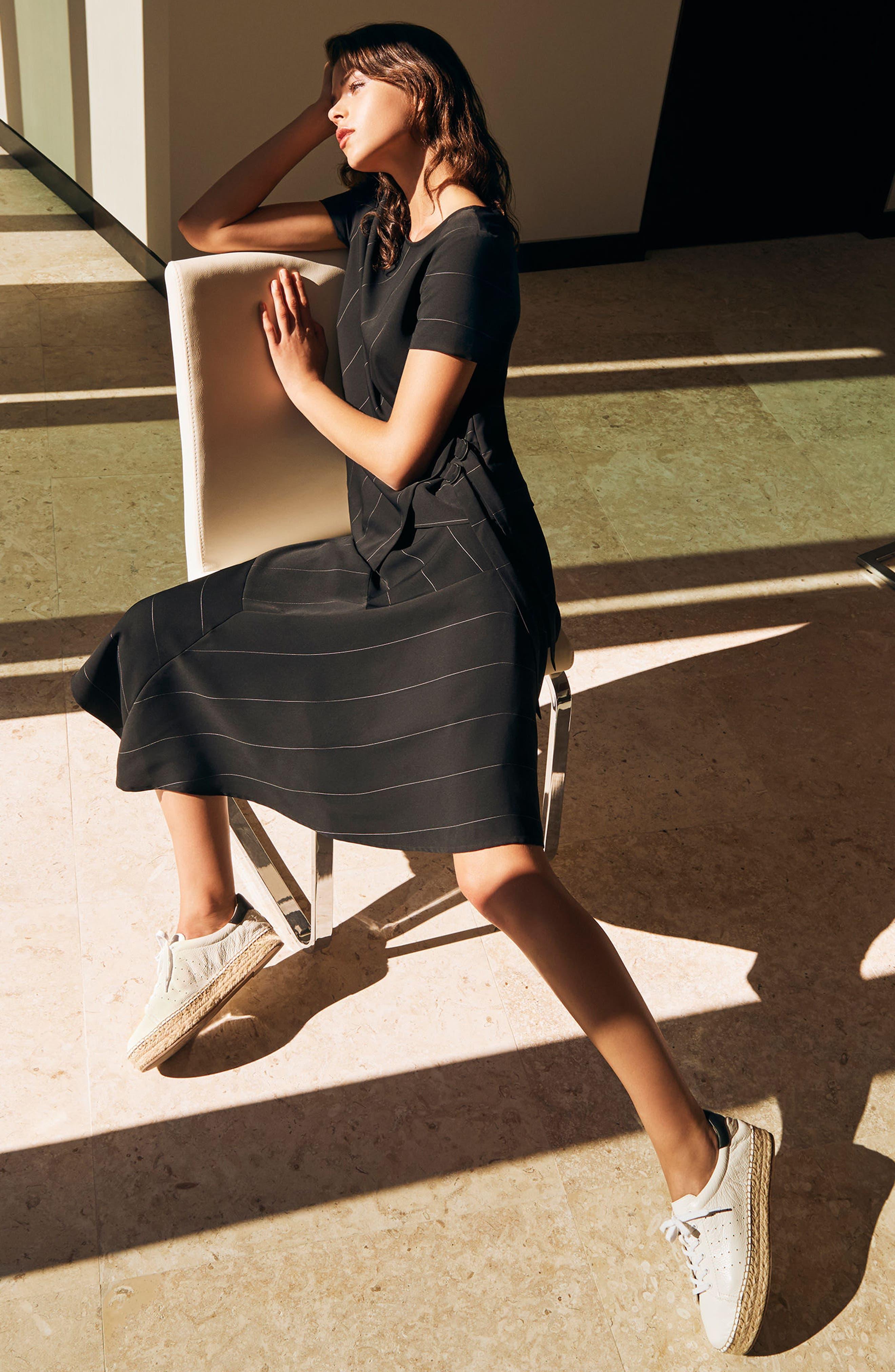 Chalk Stripe Asymmetrical Hem Skirt,                             Alternate thumbnail 5, color,                             006