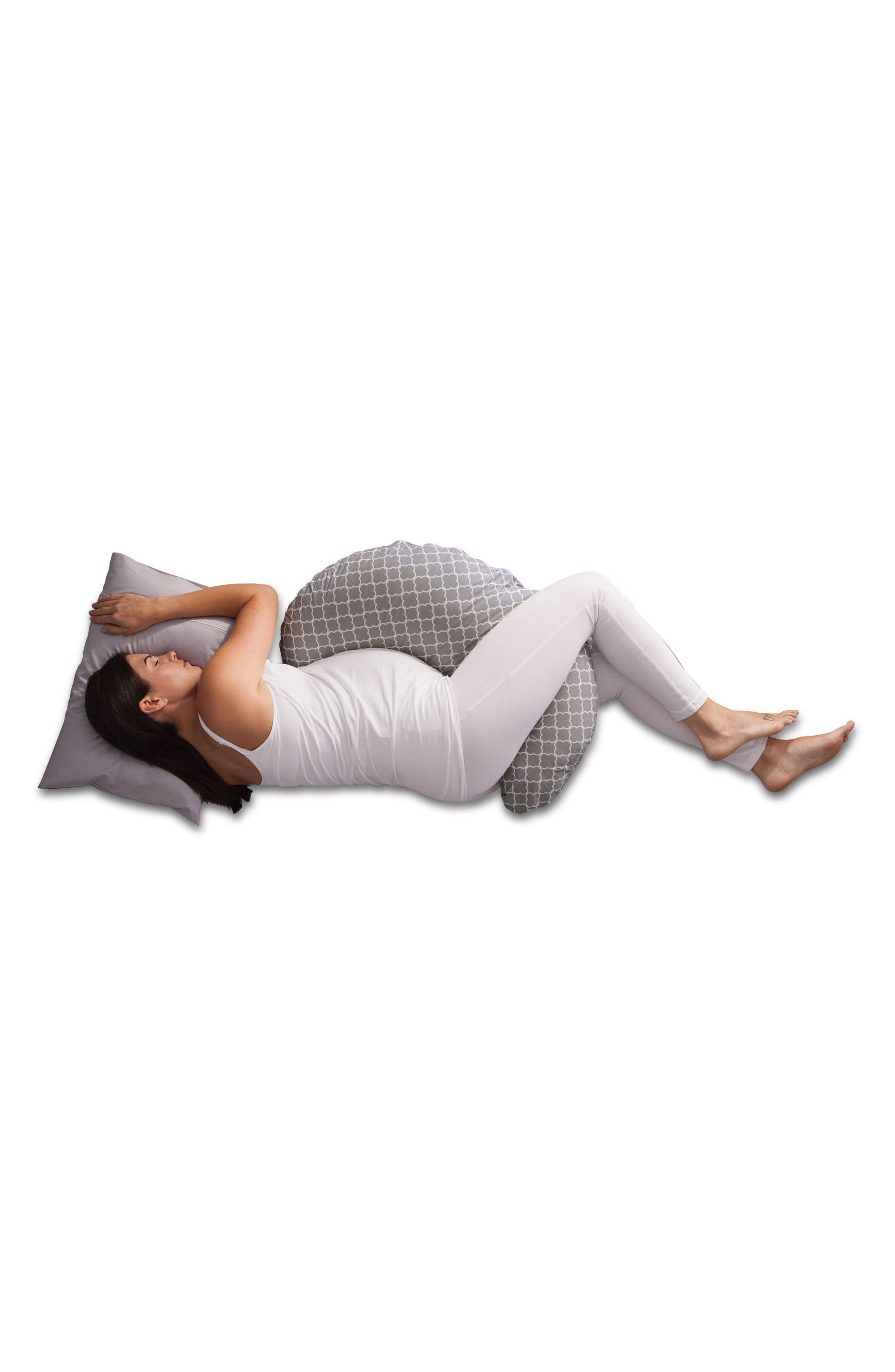 Multi-use Pregnancy Support Pillow,                             Alternate thumbnail 3, color,                             GREY TRELLIS