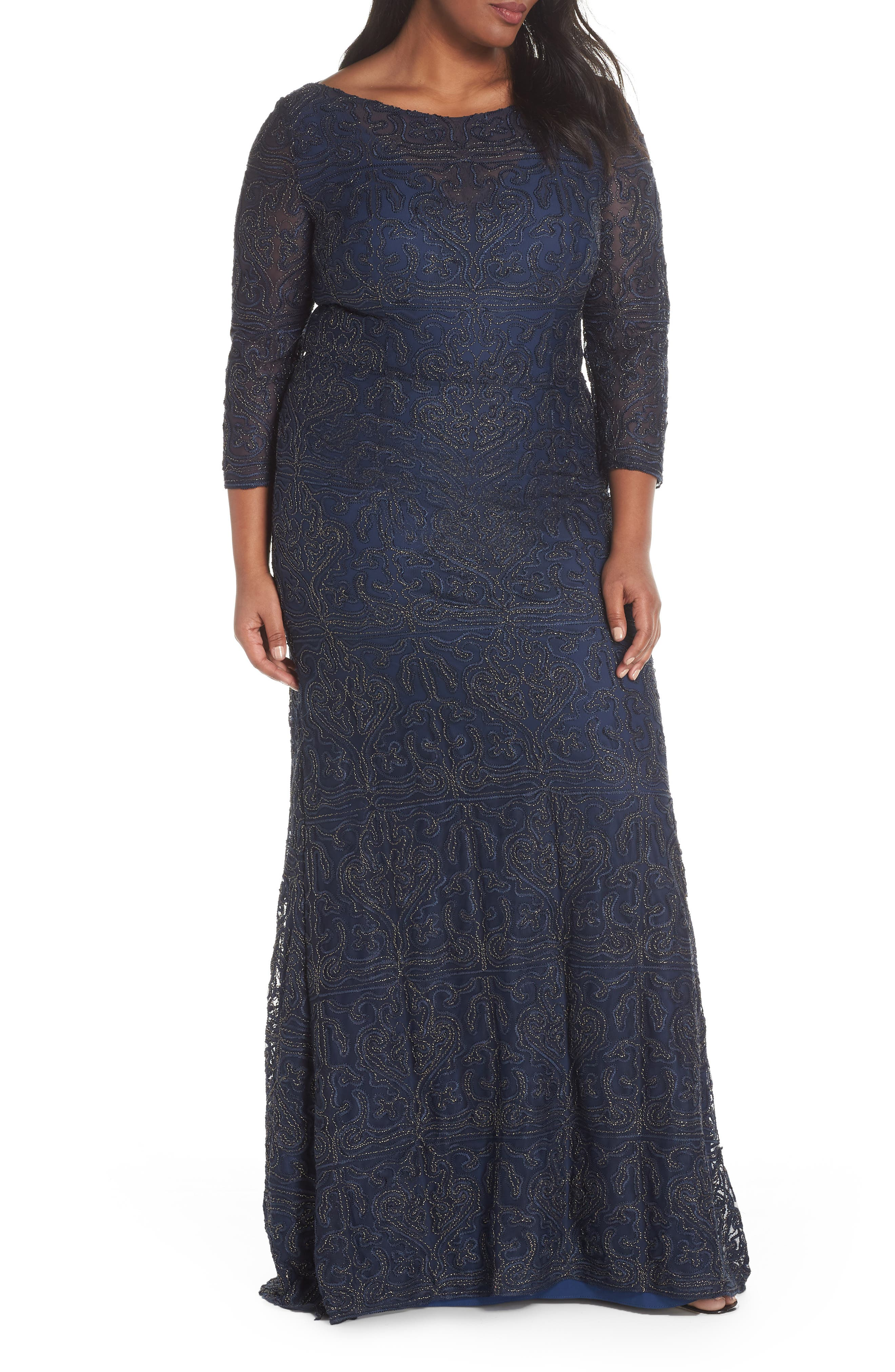 JS COLLECTIONS Metallic Soutache Gown, Main, color, NAVY / GOLD